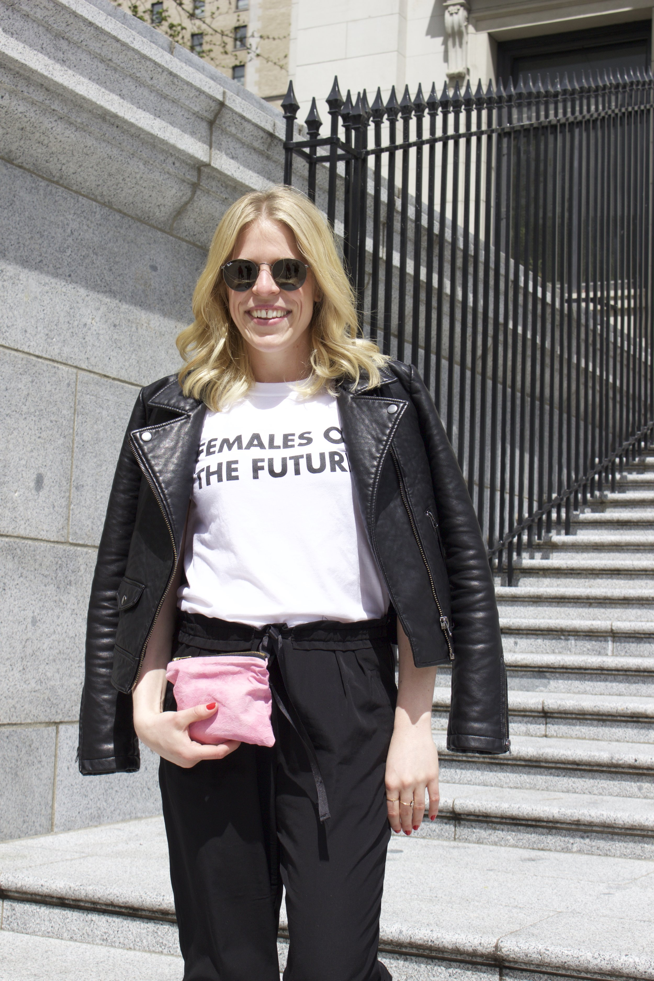 Topshop  Leather Jacket,  Topshop ' Females of the Future' Tee,  Zara  Paper Bag Trousers,  Dani Bartlett  'Girl U Want' Pouch,  Ray Ban  Sunglasses,  Catbird  Rings,  Little Gold  Ring,  Cupcakes and Cashmere  x Formula X Haute Sauce Nail Polish