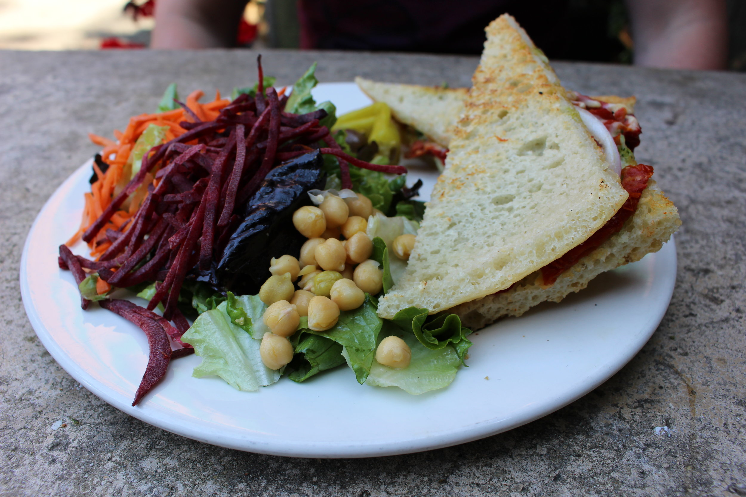 Dave's panino with a loaded side salad