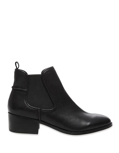Steve Madden, Dicey Leather Booties,   $150, available at The Bay