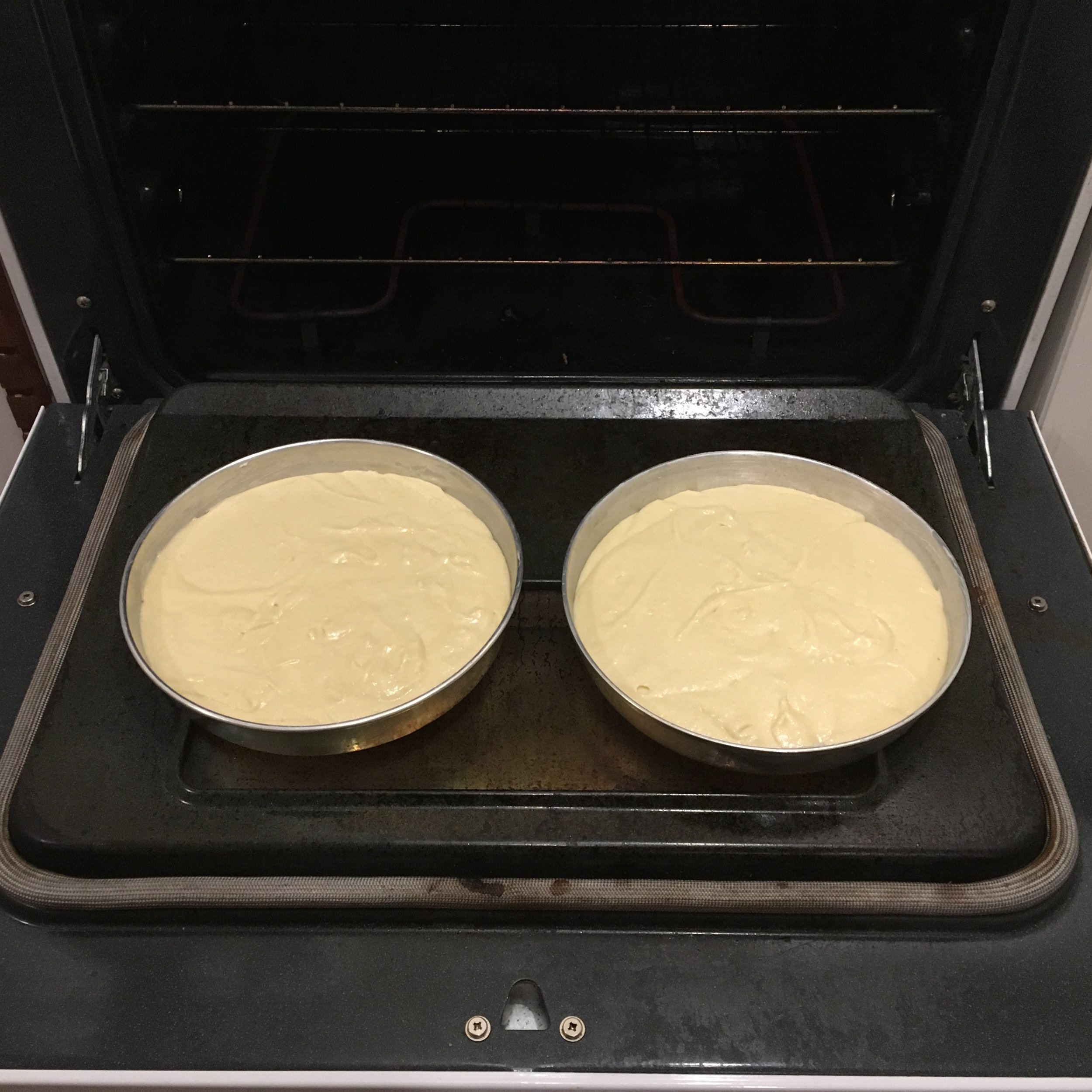 The cakes ready to go in the oven
