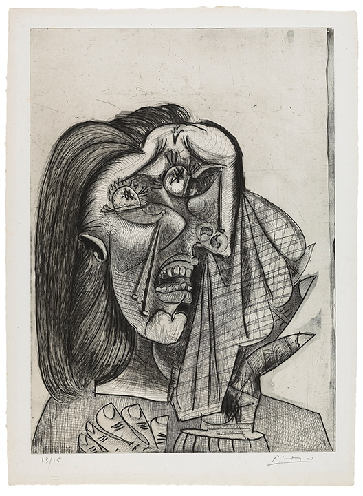 Pablo Picasso, Weeping Woman, 1937, Etching, Drypoint, Engraving, Aquatint on Laid Paper.