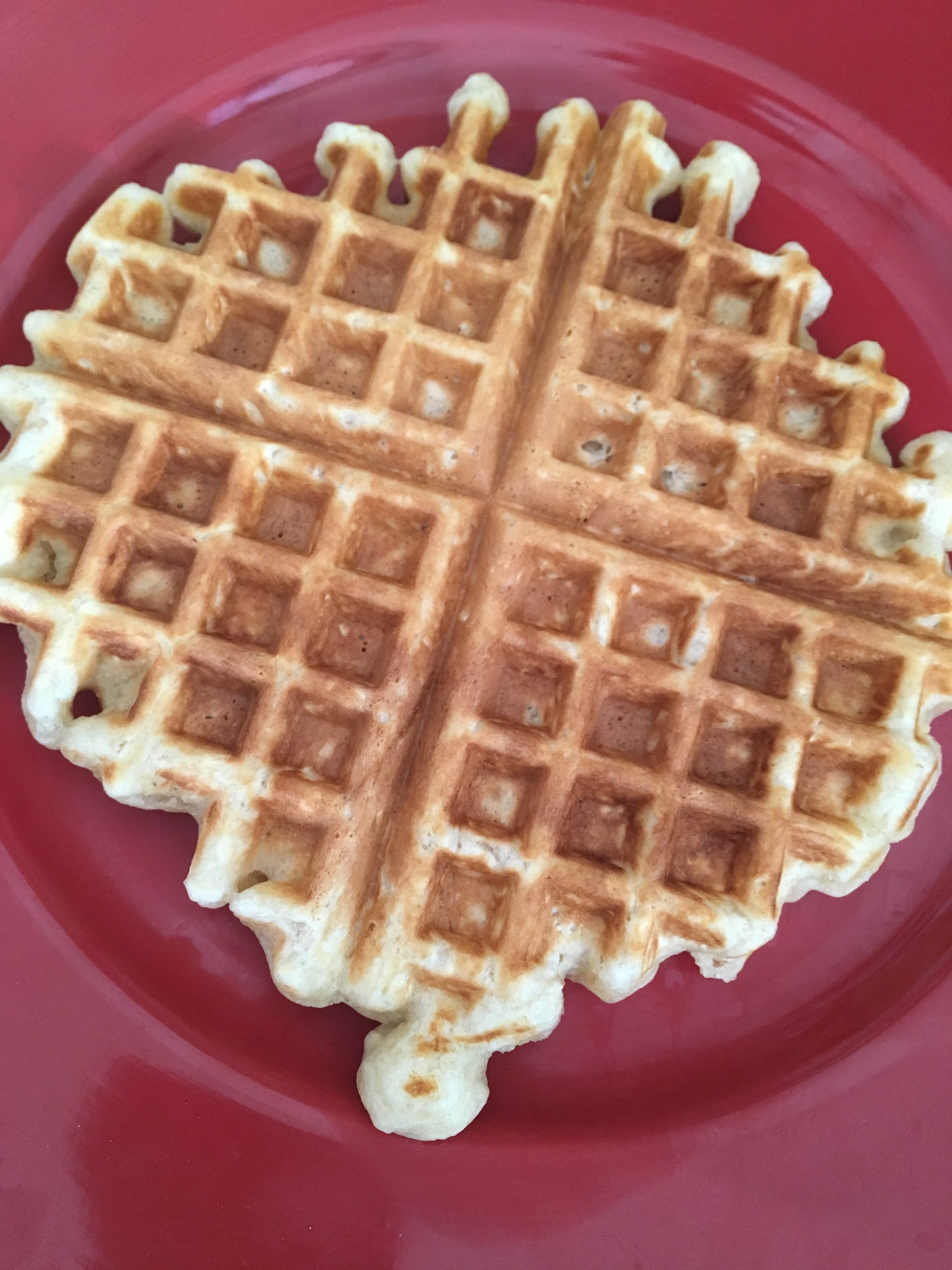 The first waffle done! (I always preheat the oven to a low temperature to keep them warm as I finish cooking the rest.
