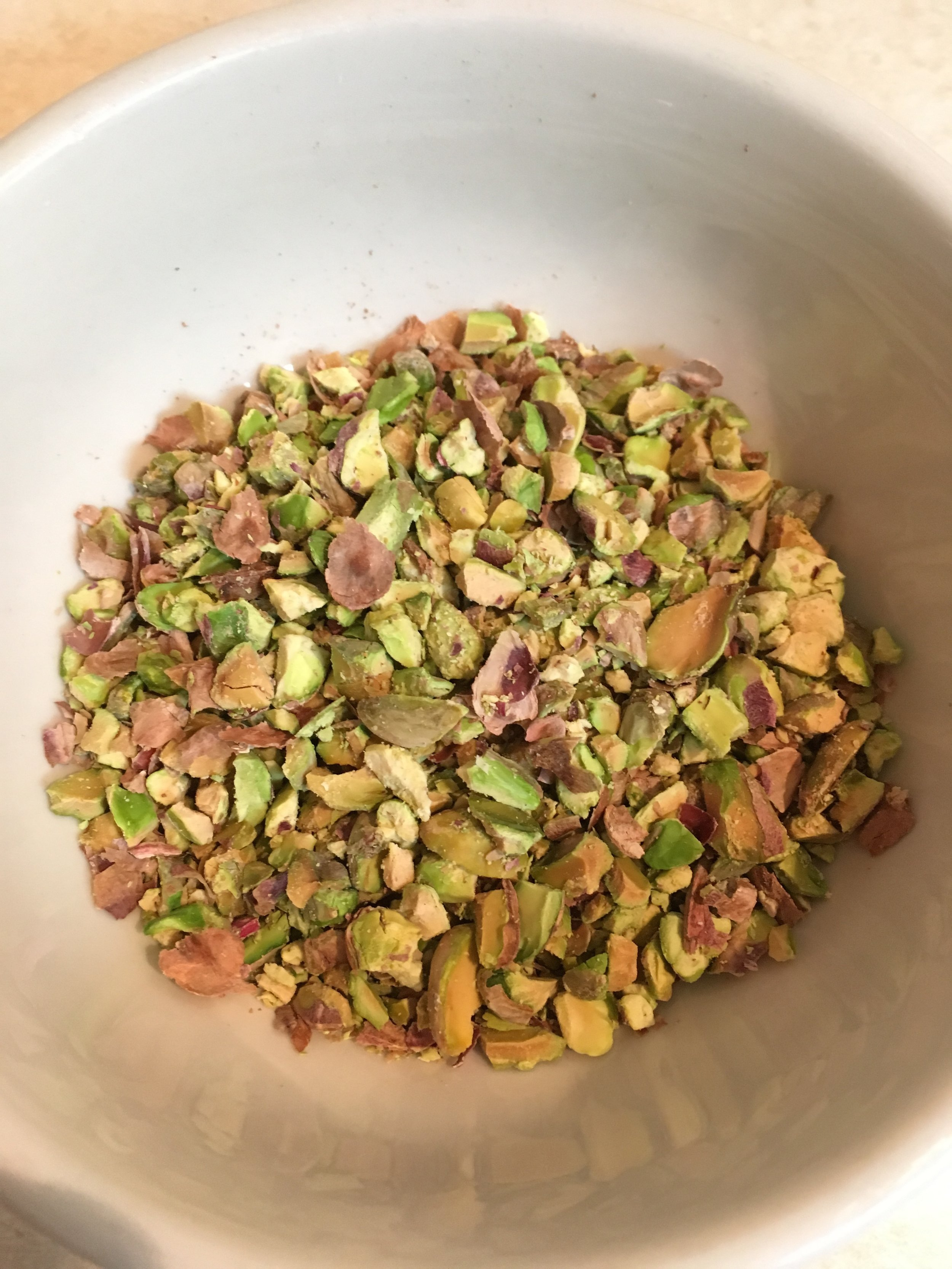 Crushed up pistachios