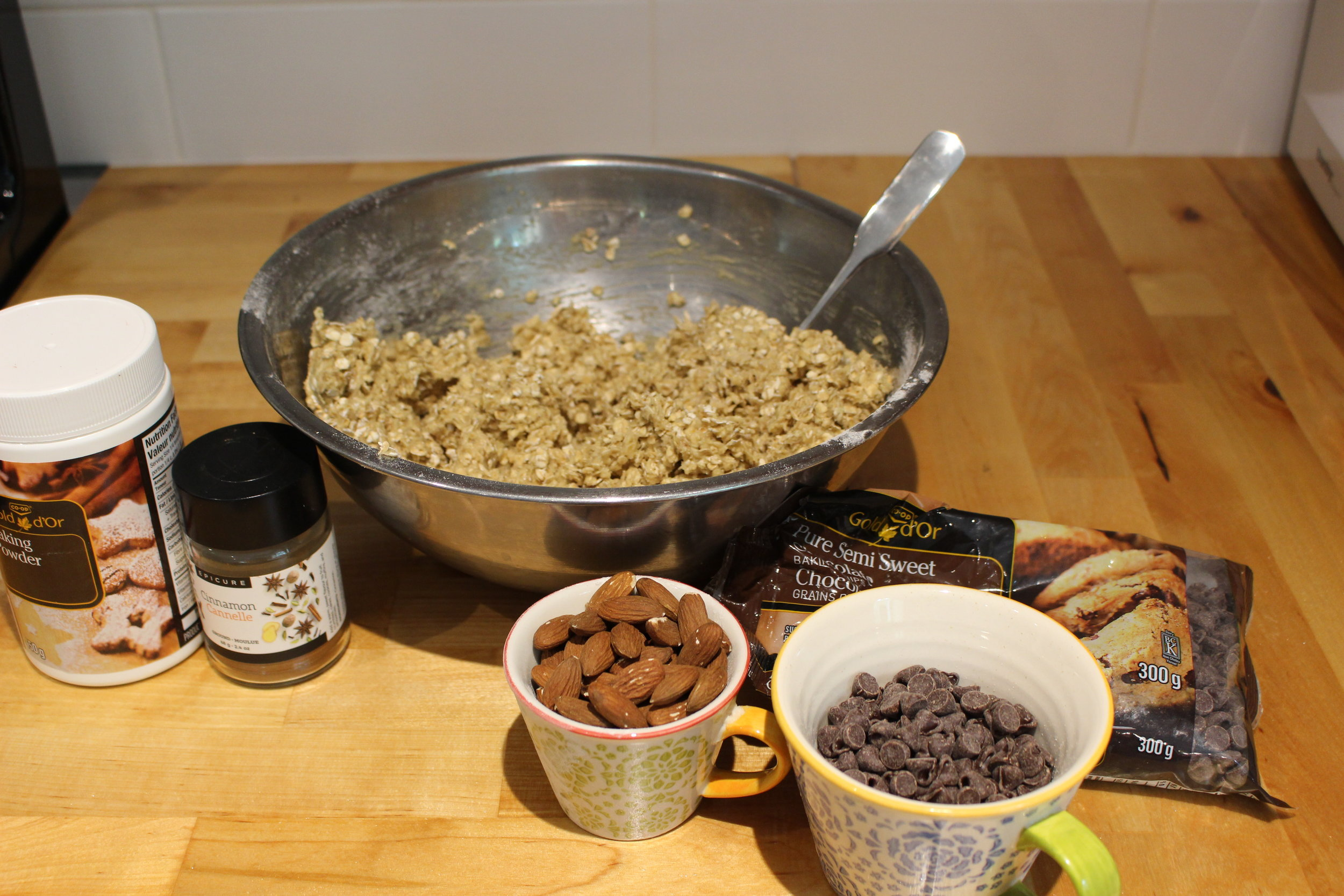 Mixing it all together and adding the almonds and chocolate chips