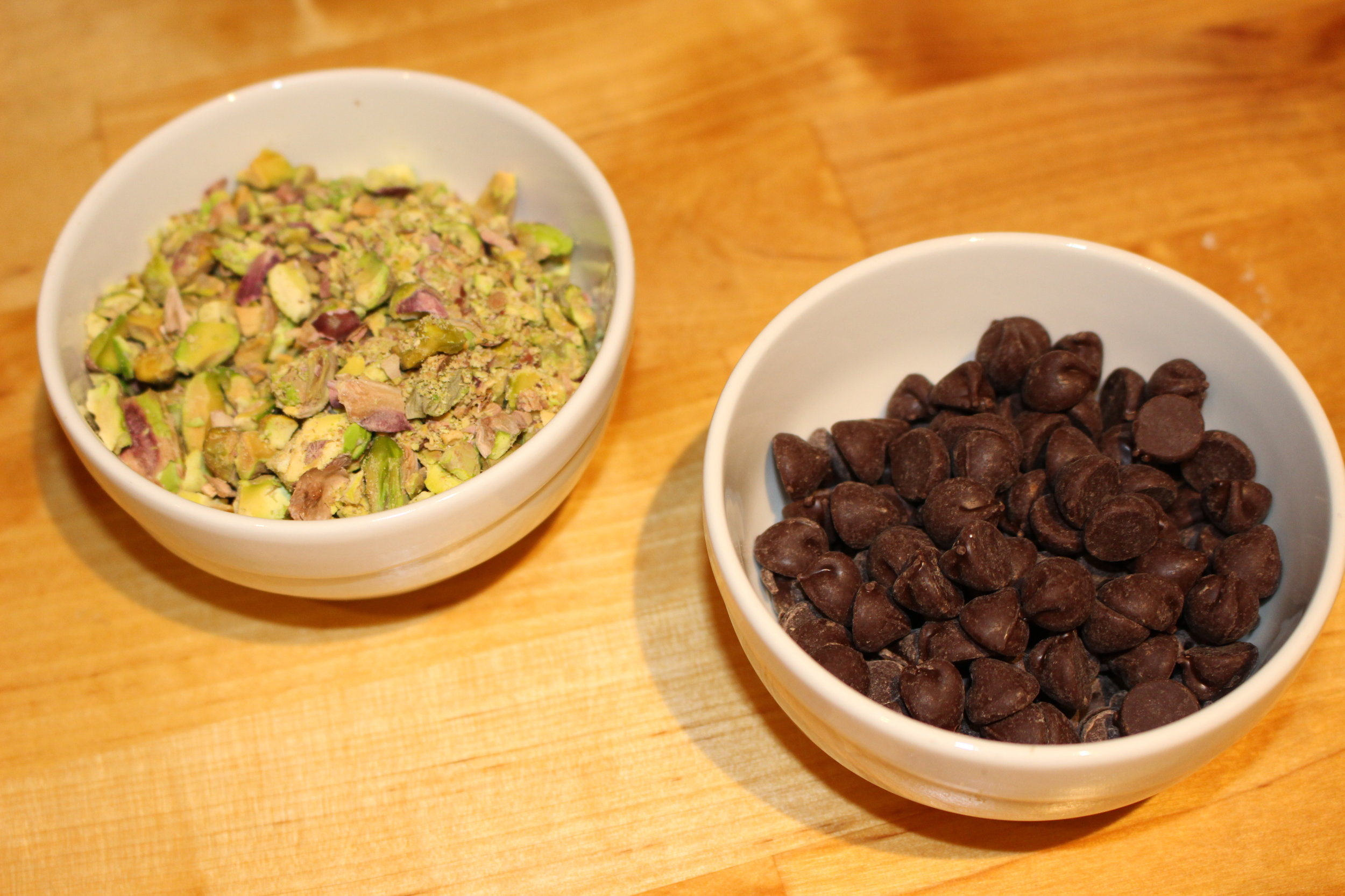 The pistachios are essential to get the real Sicilia taste and chocolate chips for good measure