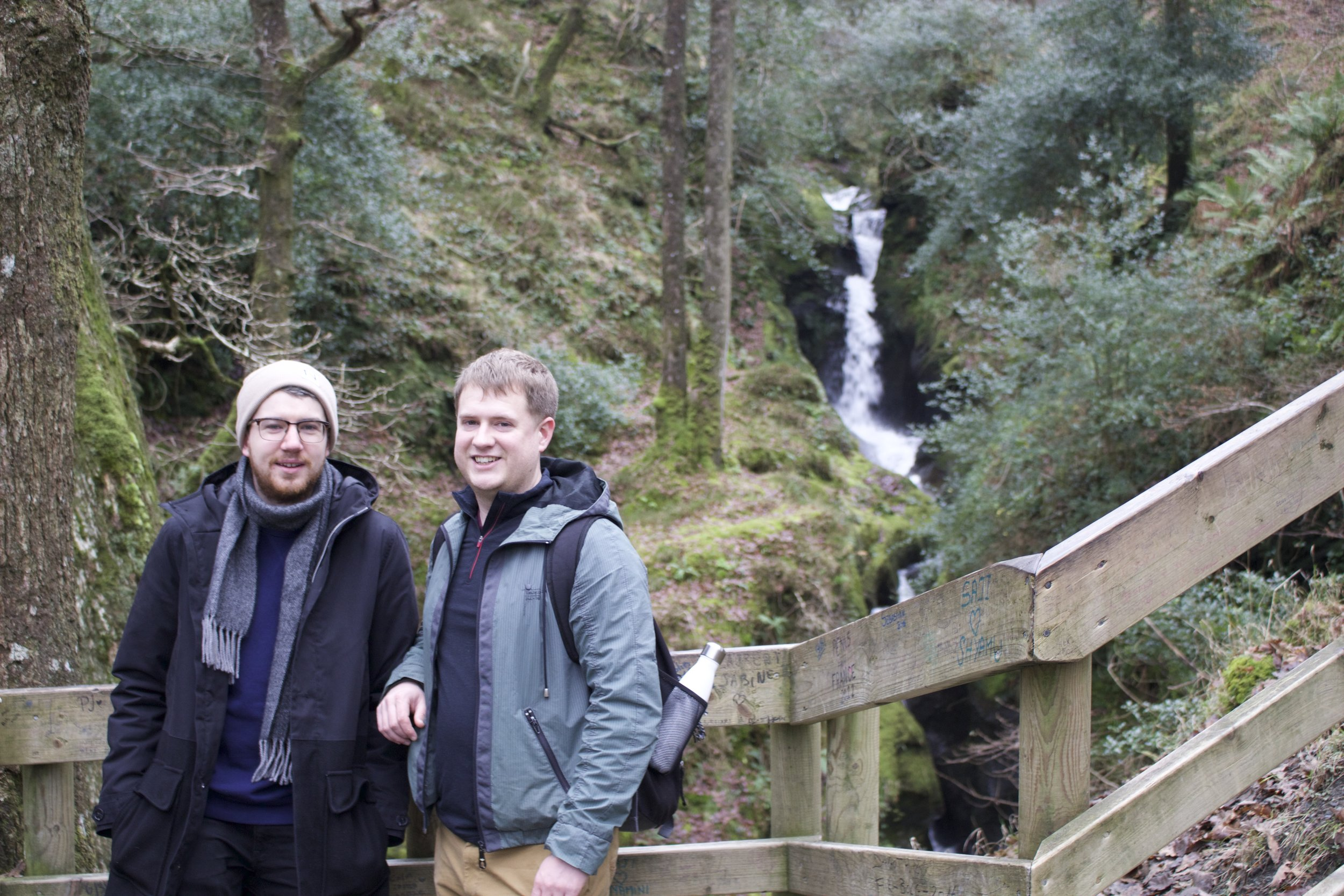 Dave and his friend James in front of the waterfall