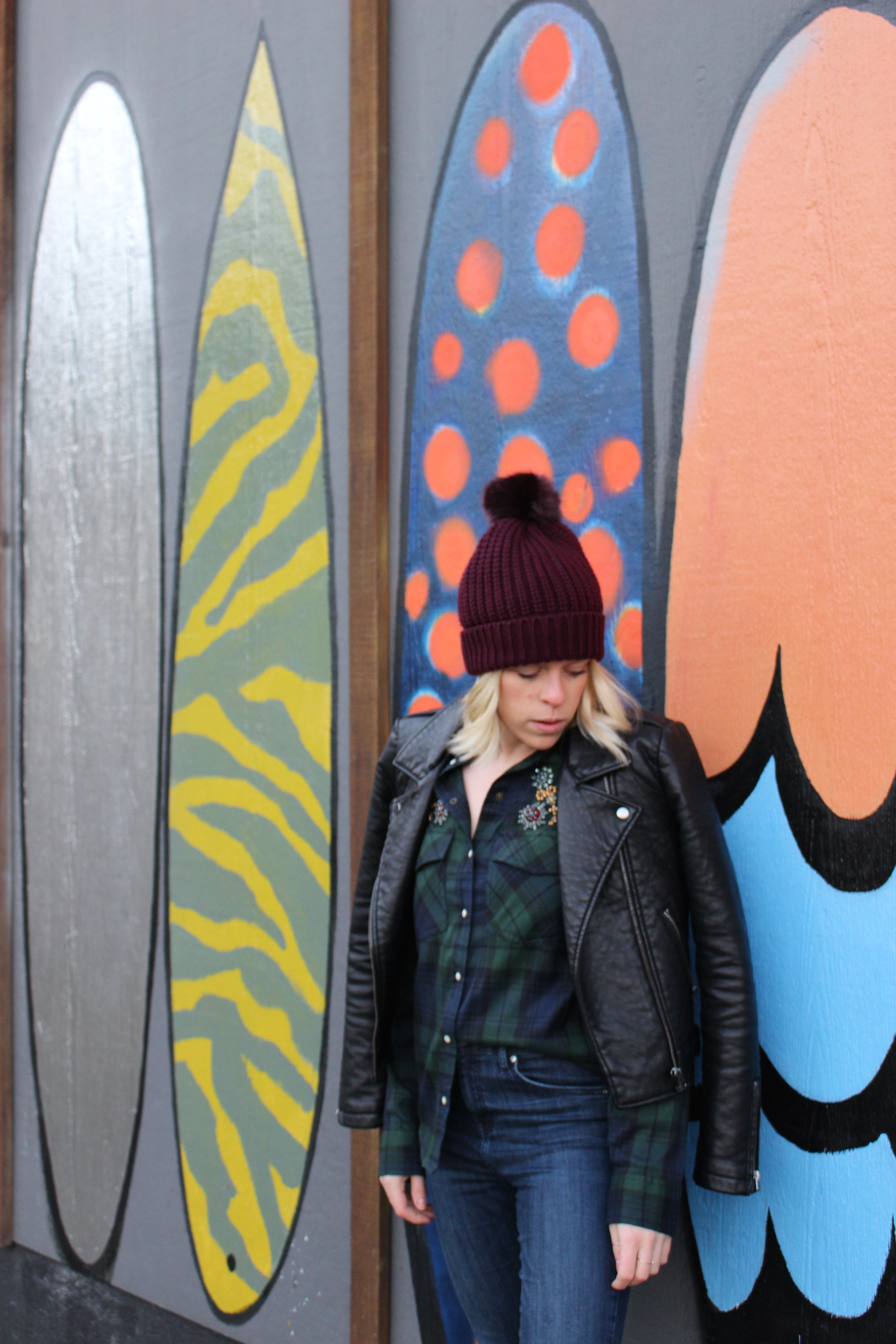 Zara Embellished Plaid Shirt, River Island Bobble Toque, Topshop Skinny Jeans, Topshop Leather Chelsea Boots, Topshop Faux Leather Jacket