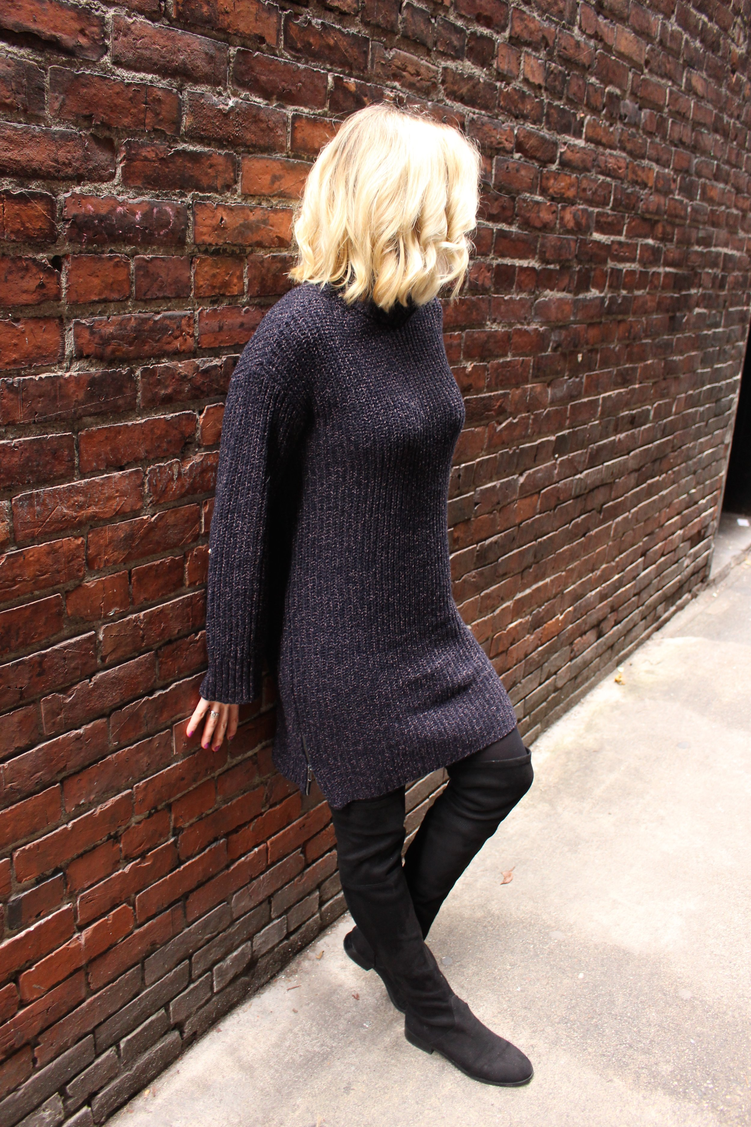American Eagle    Sweater Dress,   Avon    Opaque Tights,   Steve Madden   Suede Over the Knee Boots,   Essie    Flowerista Nail Polish