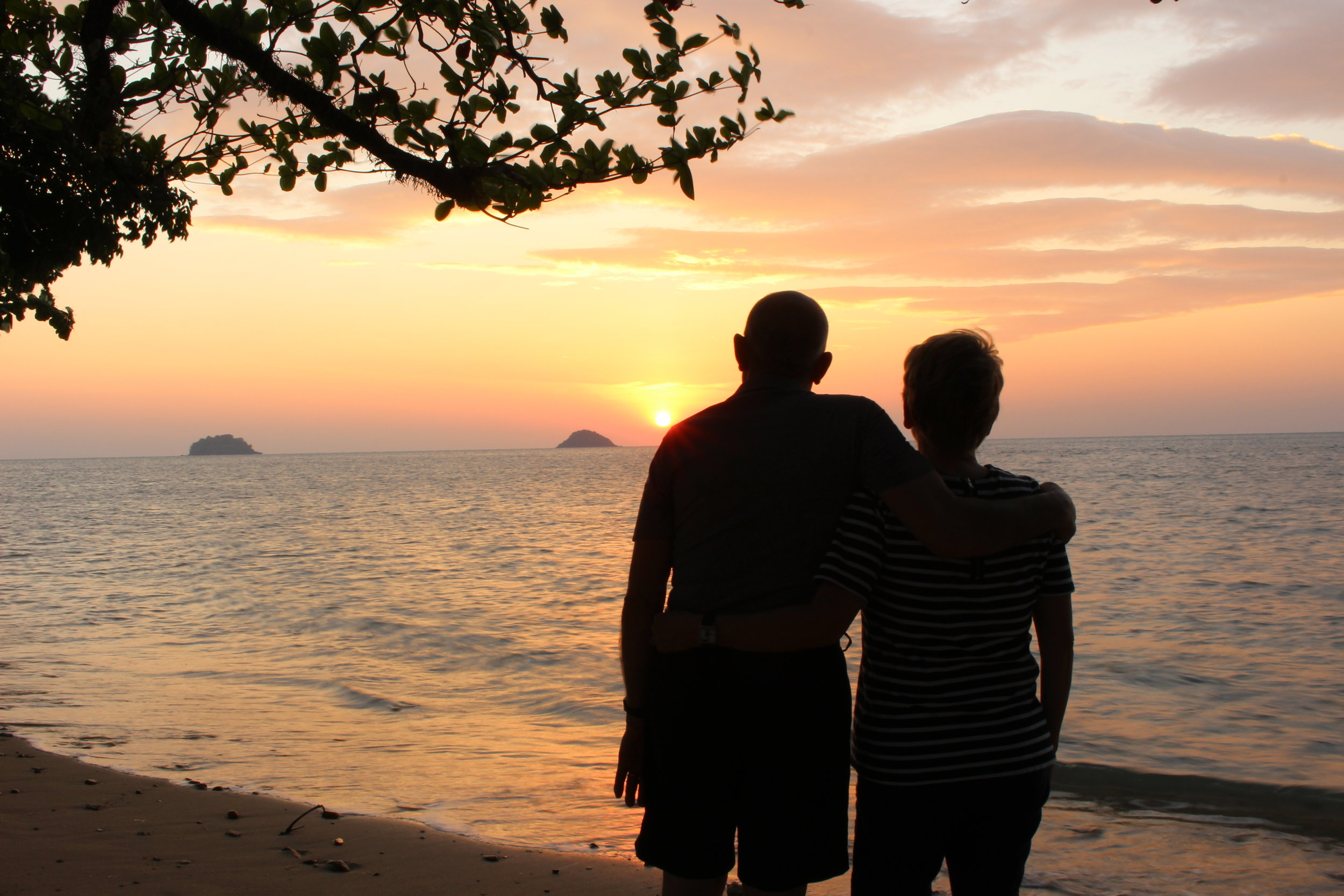 My parents watching the sunset