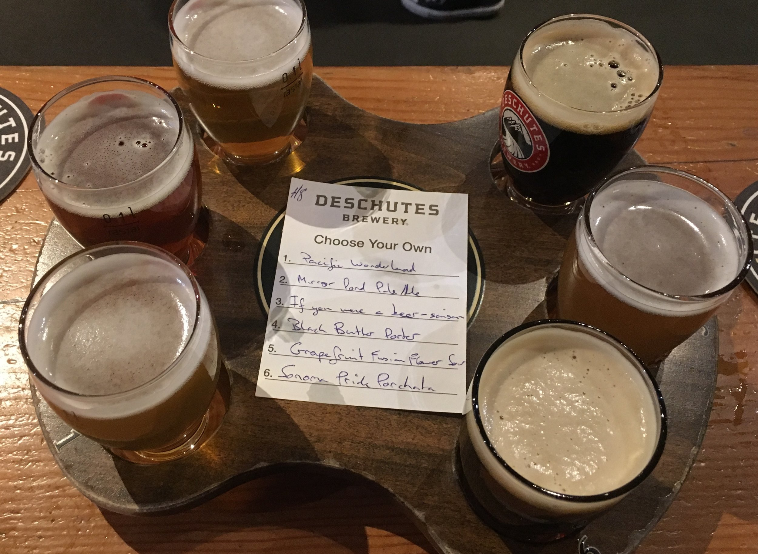 Our different beers we tasted at our first brew pub