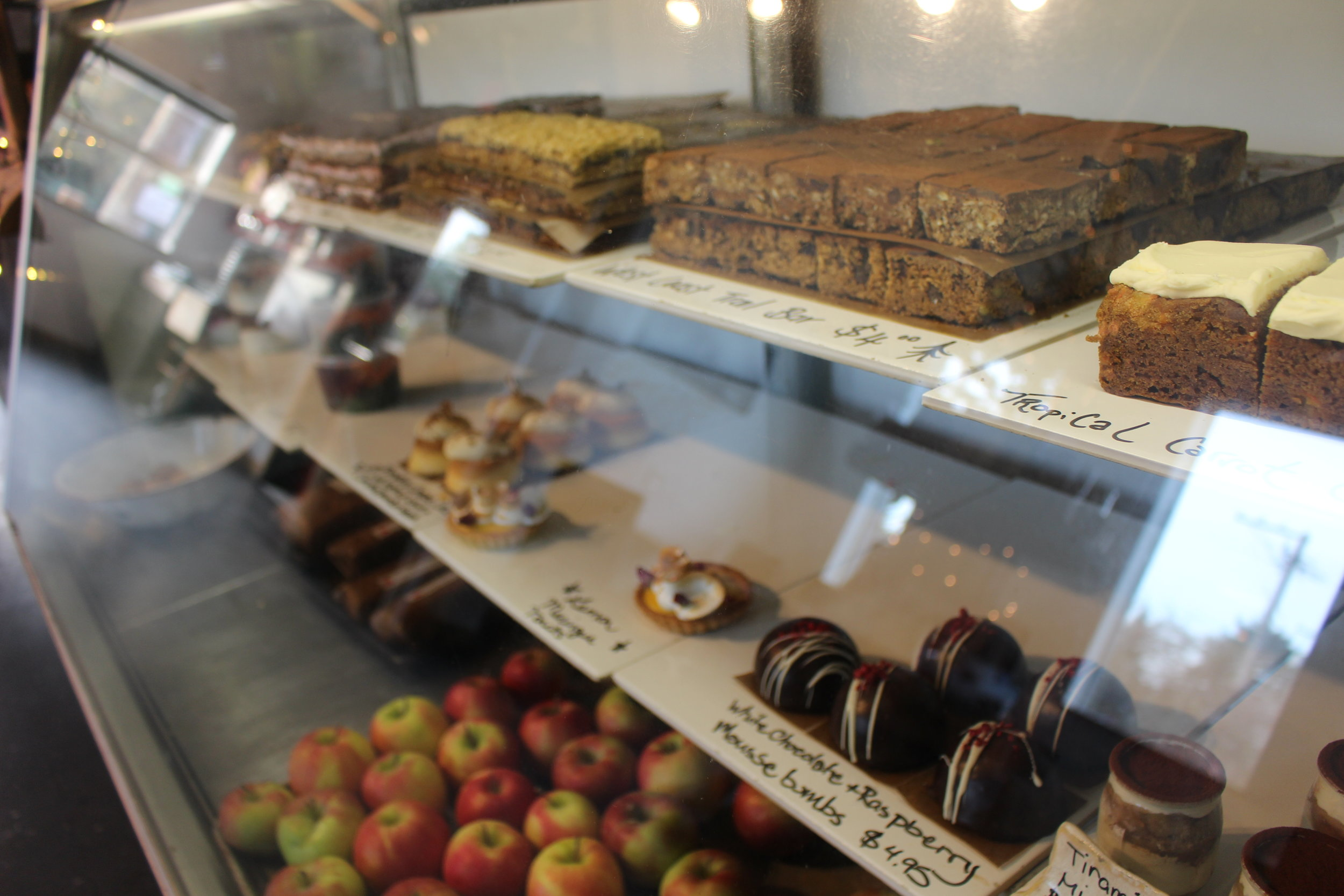 The bakery has a wider variety of both healthy and not so healthy snacks