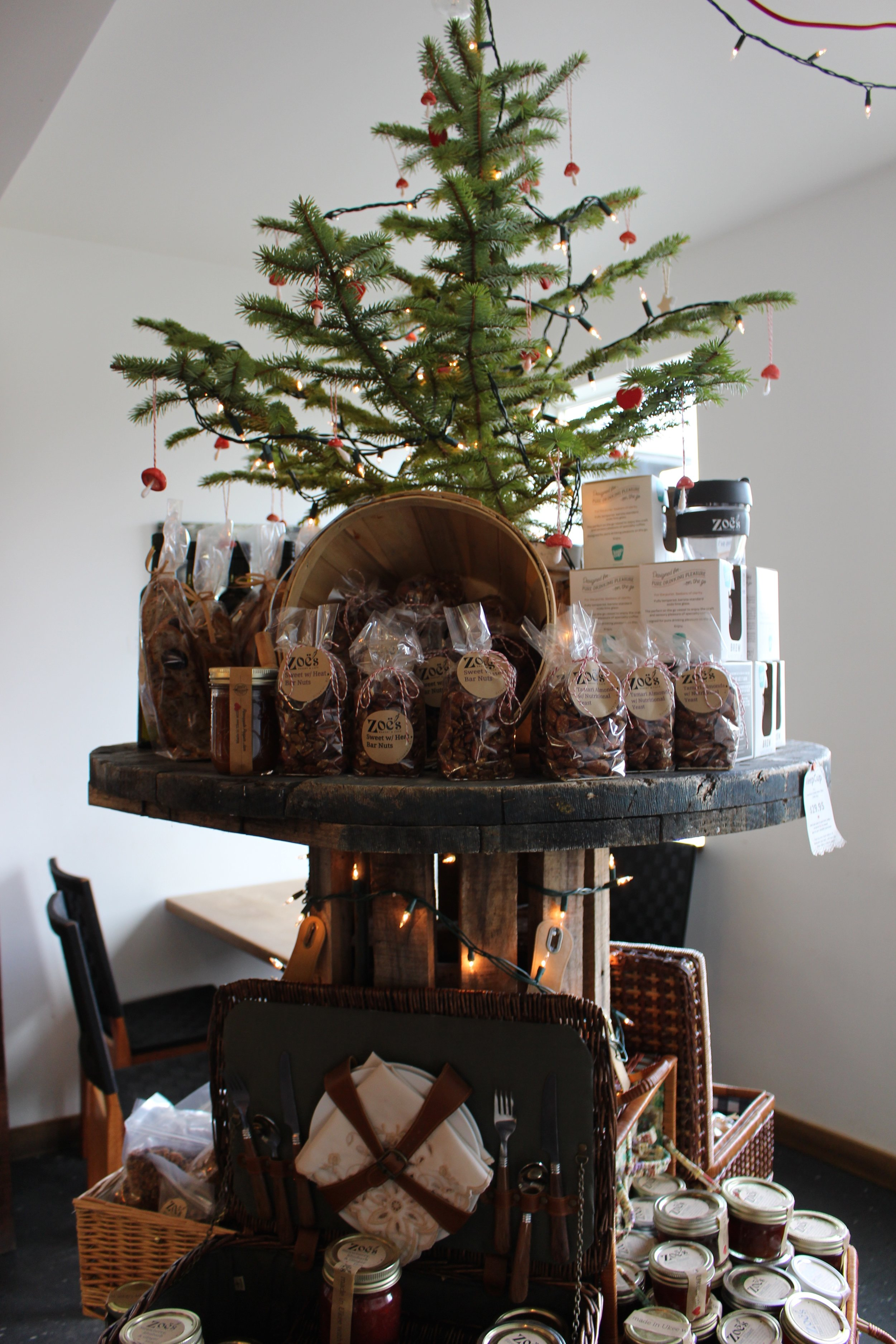 A beautiful Christmas display with ideas for stocking stuffers