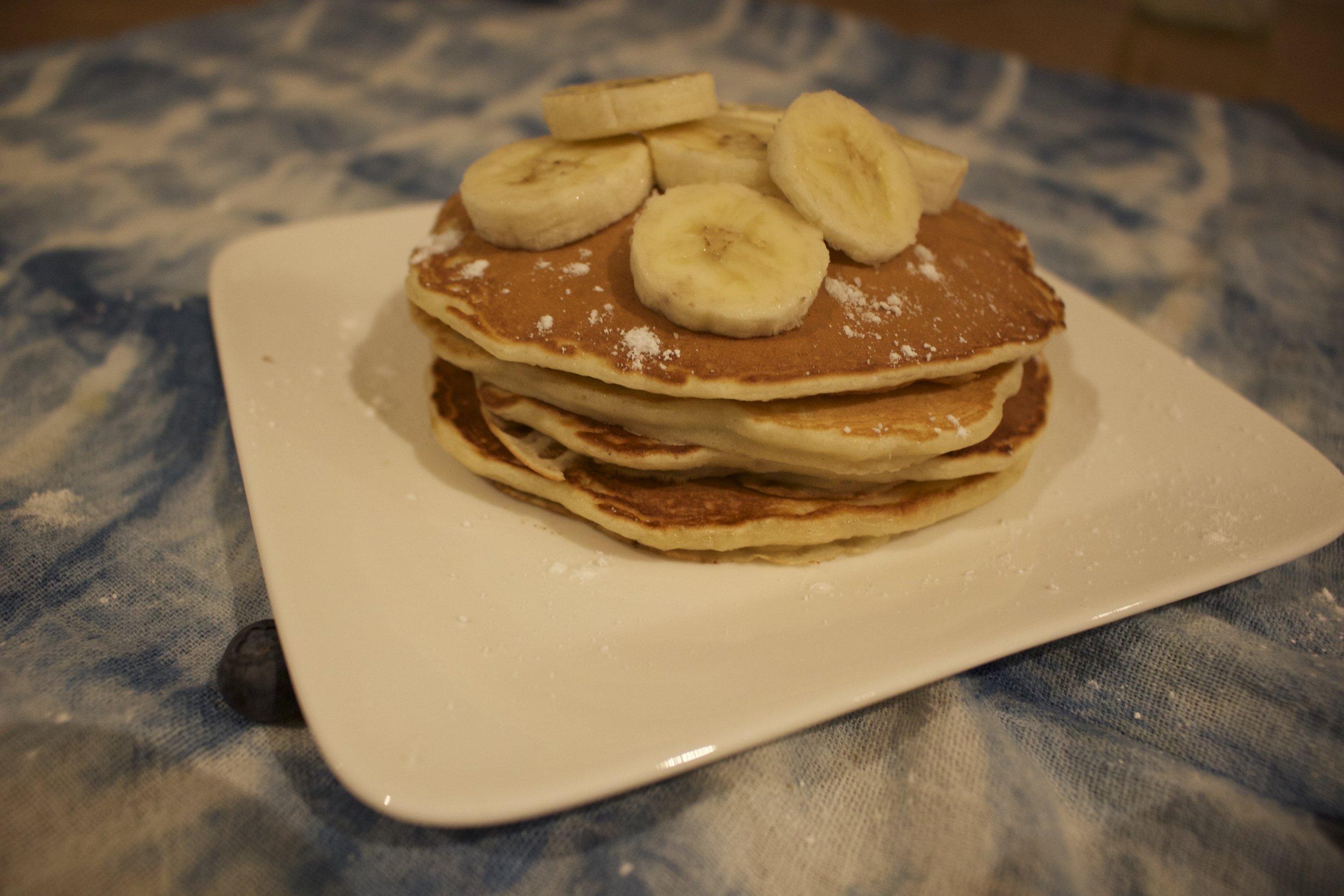 Delicious stack of banana pancakes