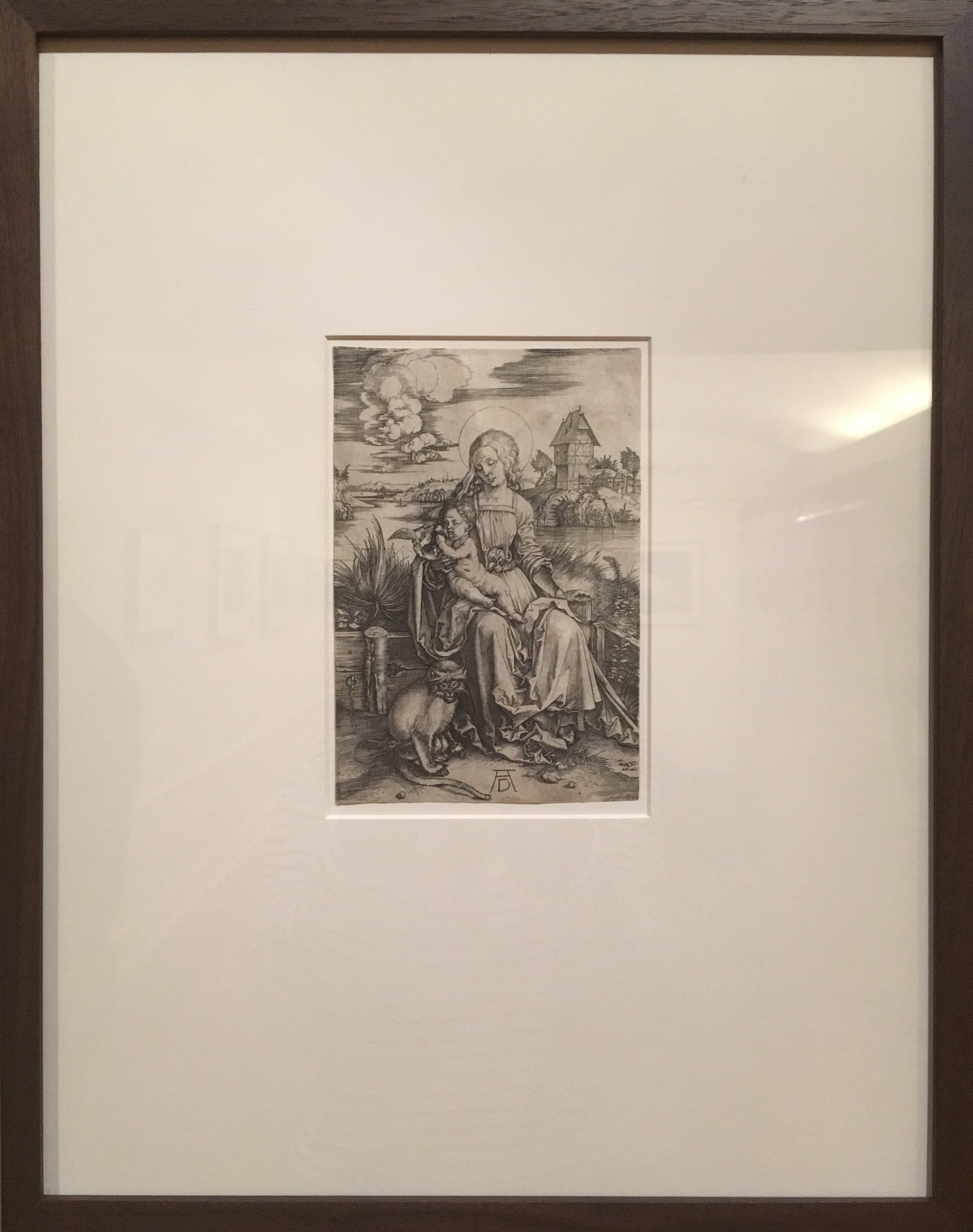 Albrecht Durer,   Virgin and Child with a Monkey  , ca. 1498, Engraving on cream laid paper