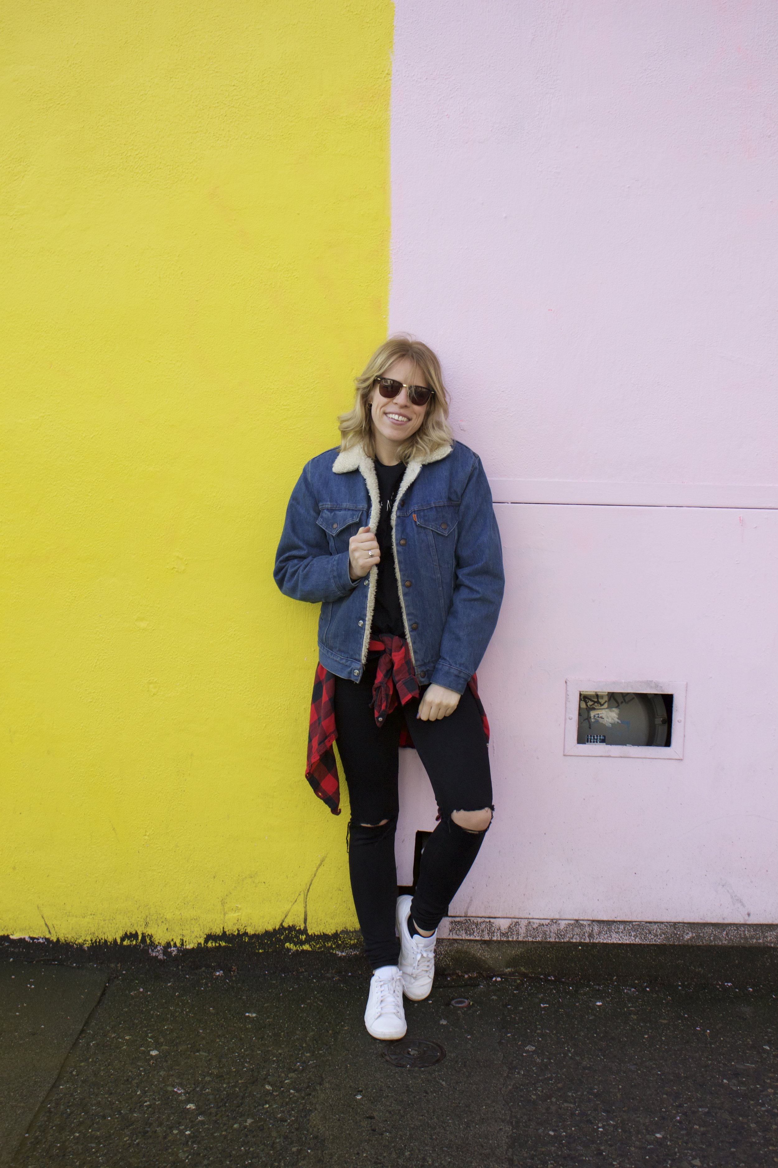 Levi's Vintage Denim Jacket from    Gypsy Drifter   , T-Shirt from    Chatachuk Market   ,    Aerie    Plaid Shirt,    American Eagle    Jeans,    Nike    Sneakers