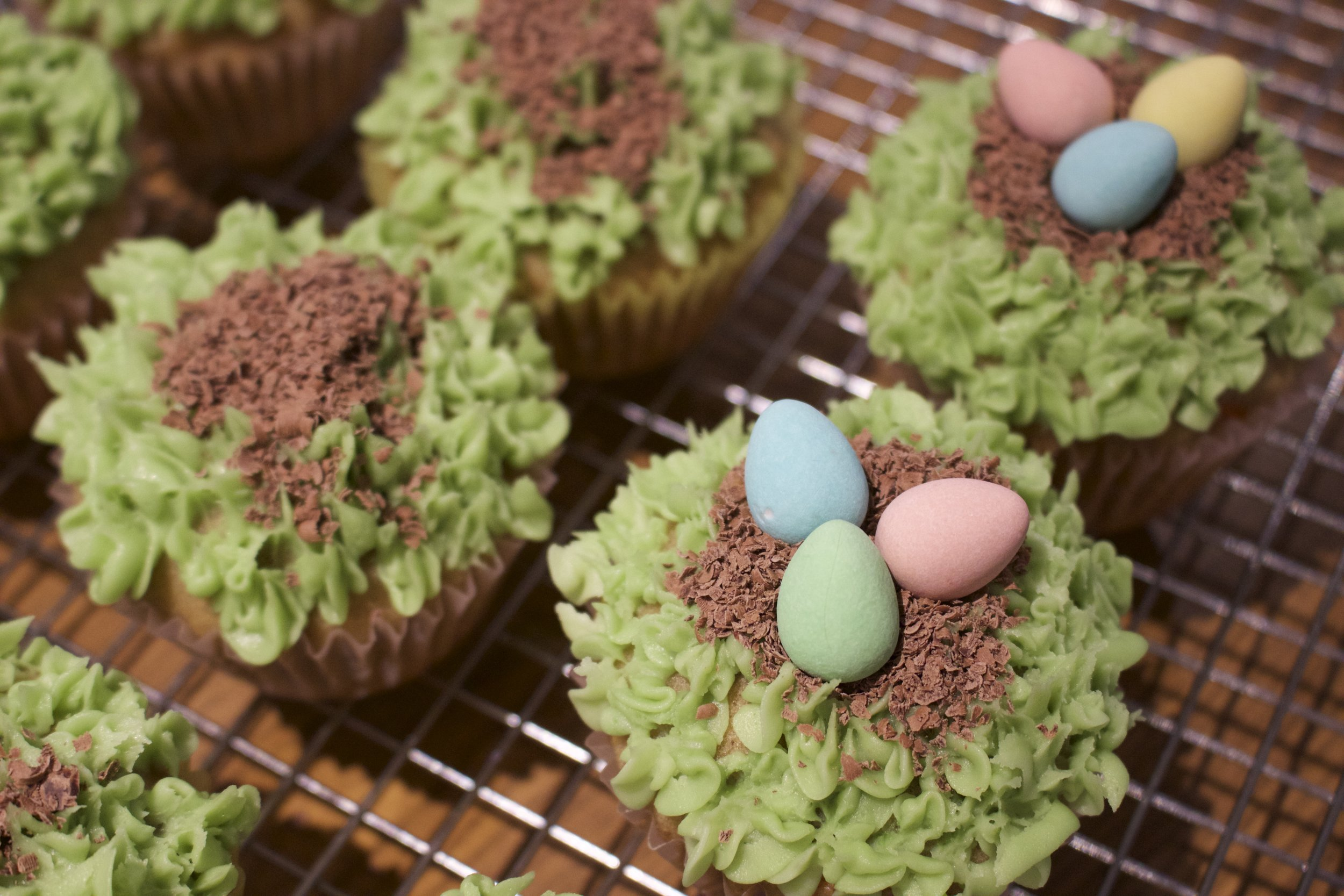 Dark chocolate shavings for the nest and mini eggs