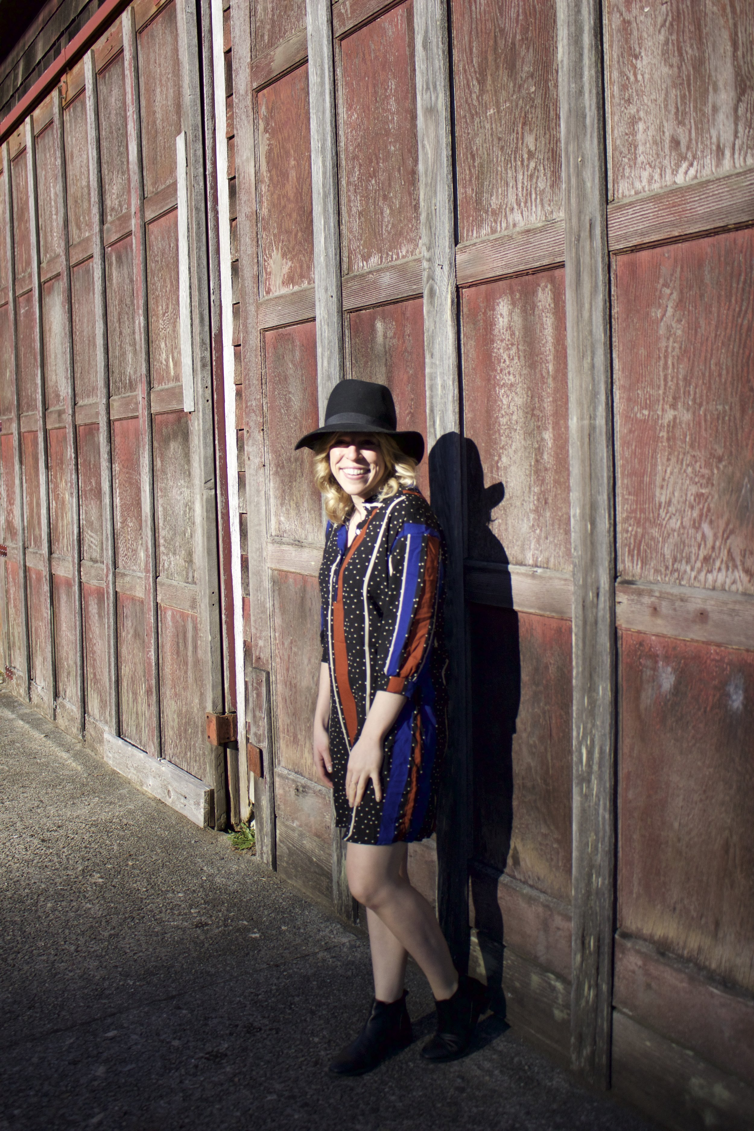 Wool Hat from a boutique in Kelowna, Dress from Chatachuck Market in Bangkok, Topshop Leather Chelsea Booties