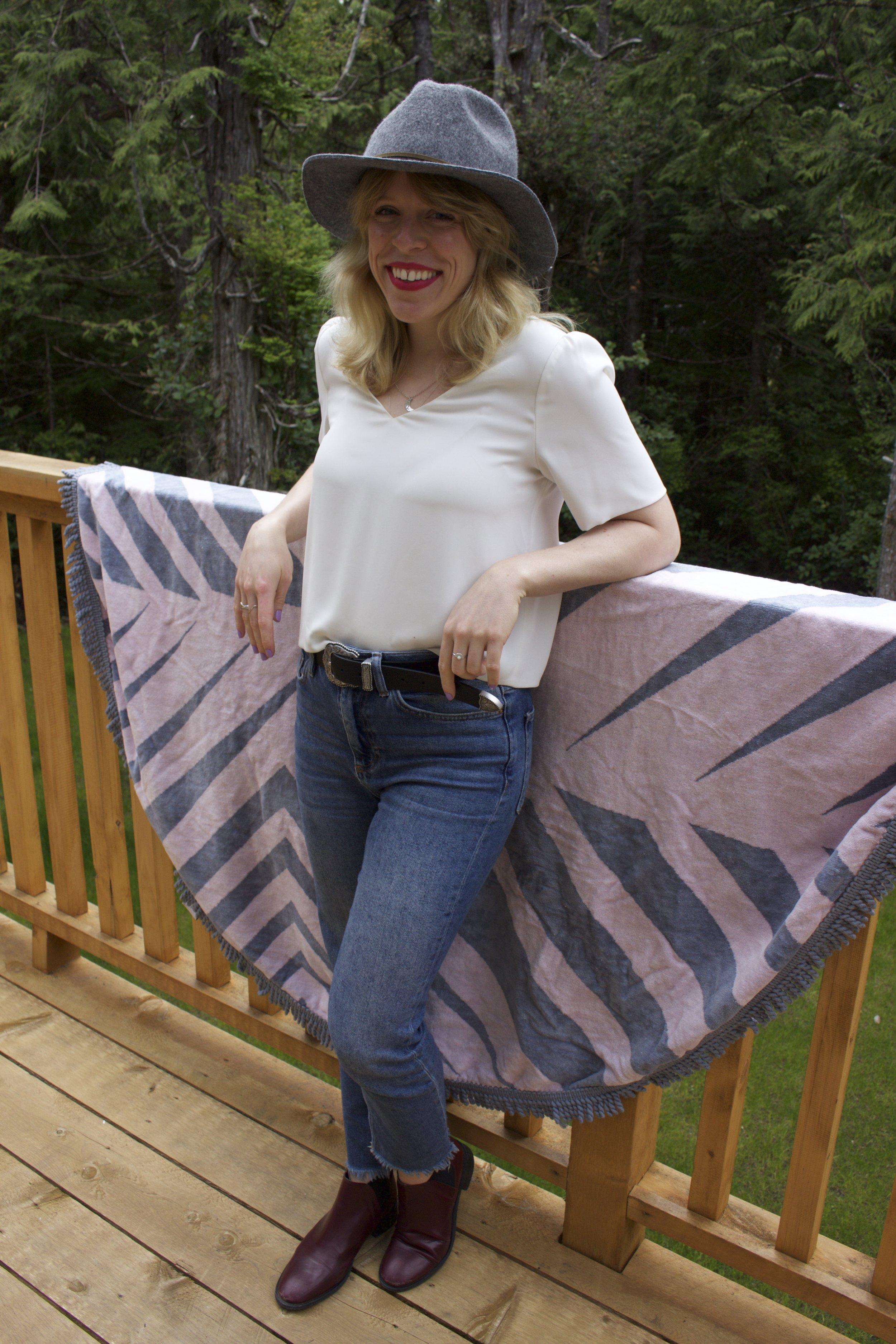 Aritzia    Silk Blouse,    Topshop    Jeans,    Topshop    Chelsea Boots,    Topshop    Belt,    Plenty    Wool Hat