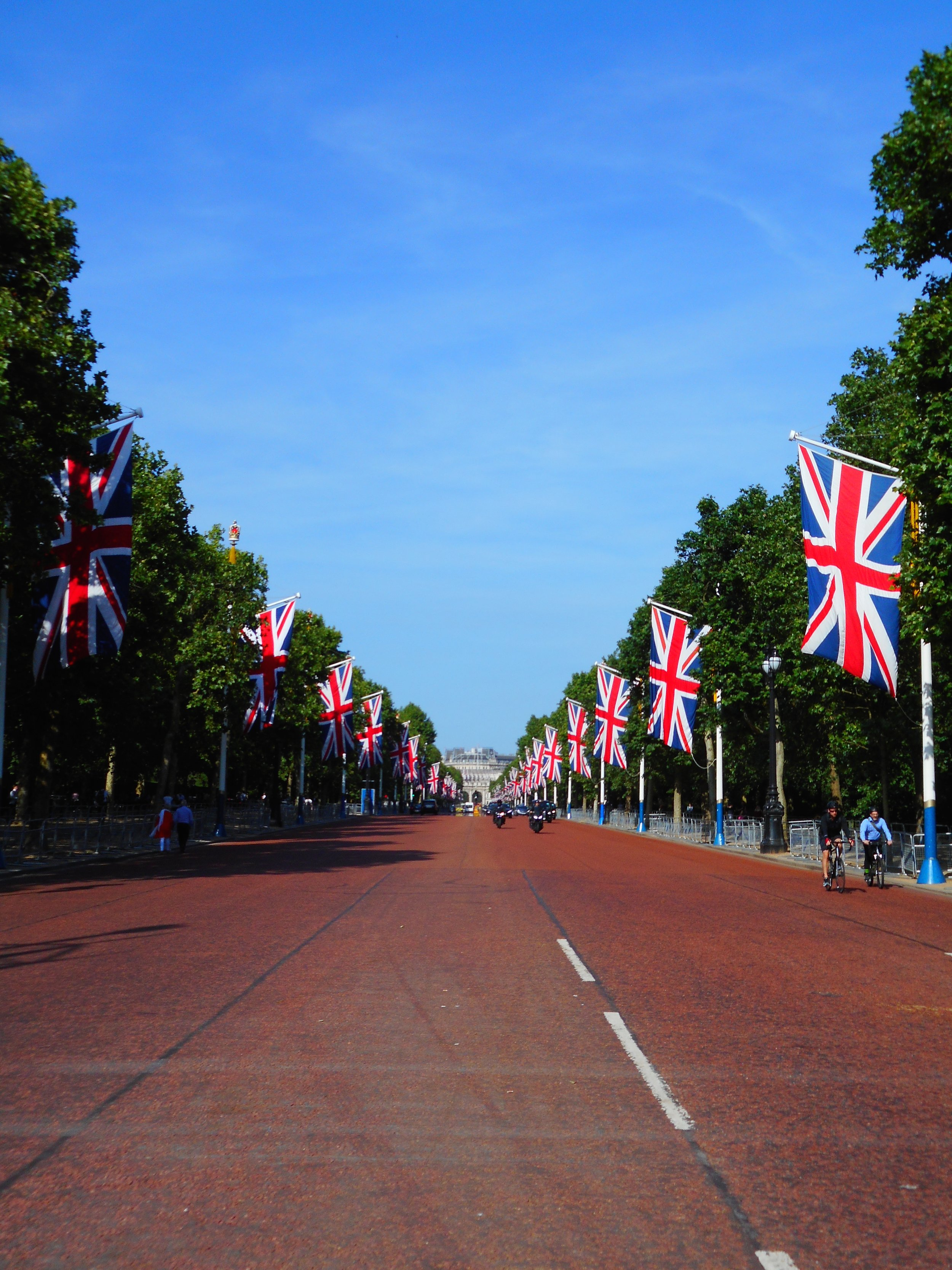 The road to Buckingham Palace was still decorated from the Royal Wedding