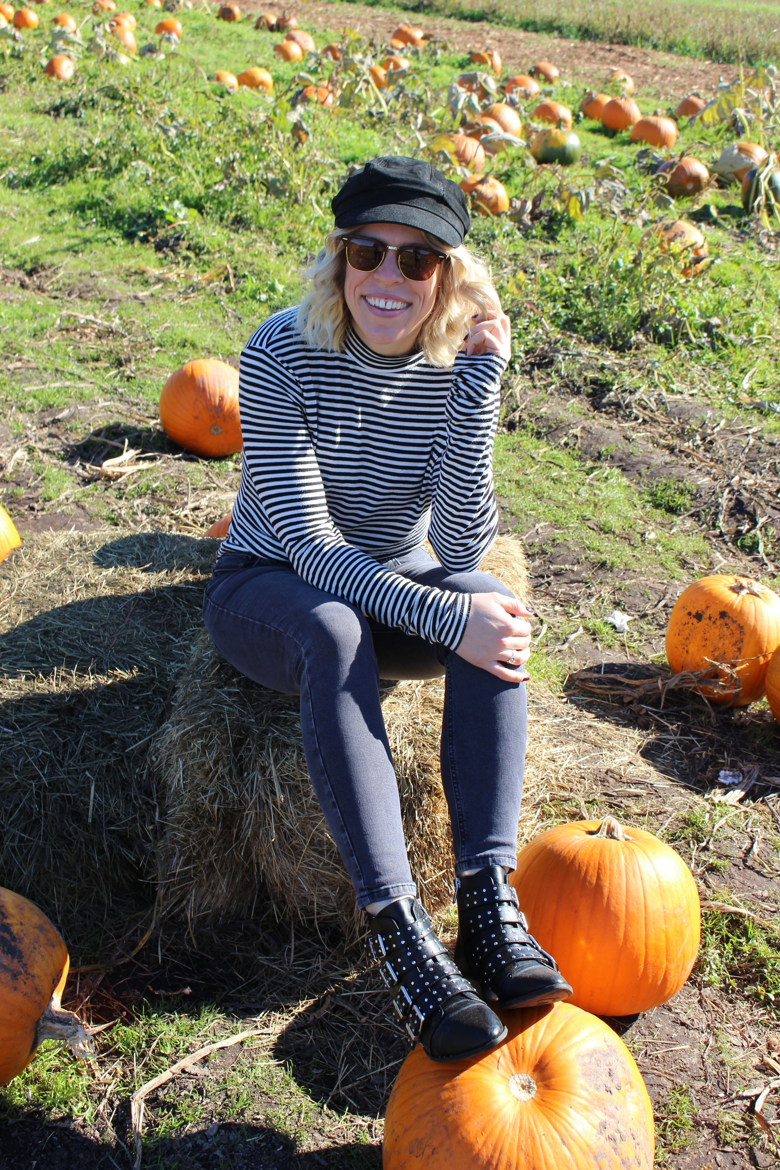 Free People    Baker Boy Hat,    Flavour    Mock Turtleneck,    Topshop    Jeans.   Circus by Sam Edelman   Booties from   Hudson Bay