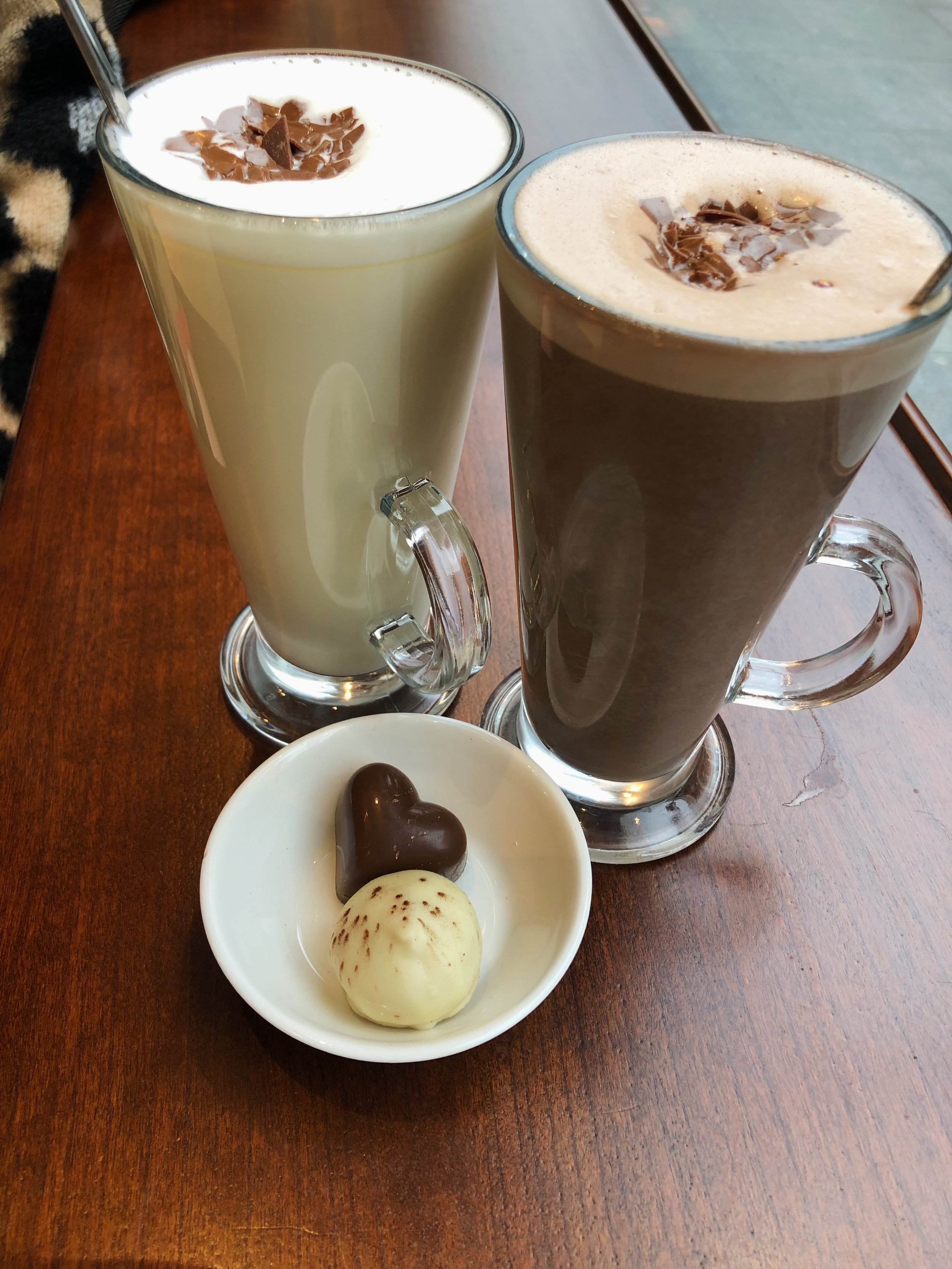Mine and Dave's Hot Chocolates from   Butler's   with our chocolates