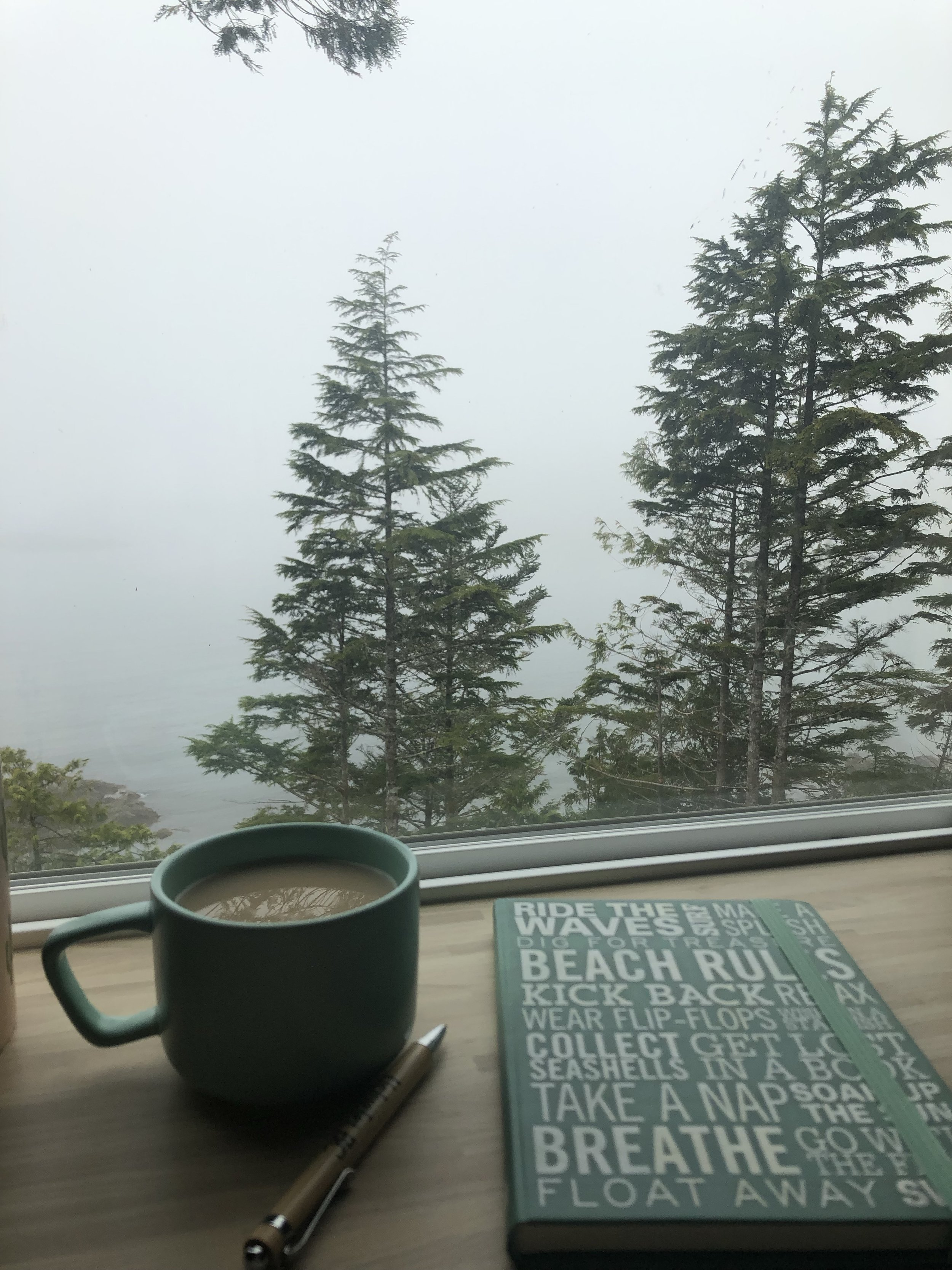 Writing in the guestbook on a foggy morning