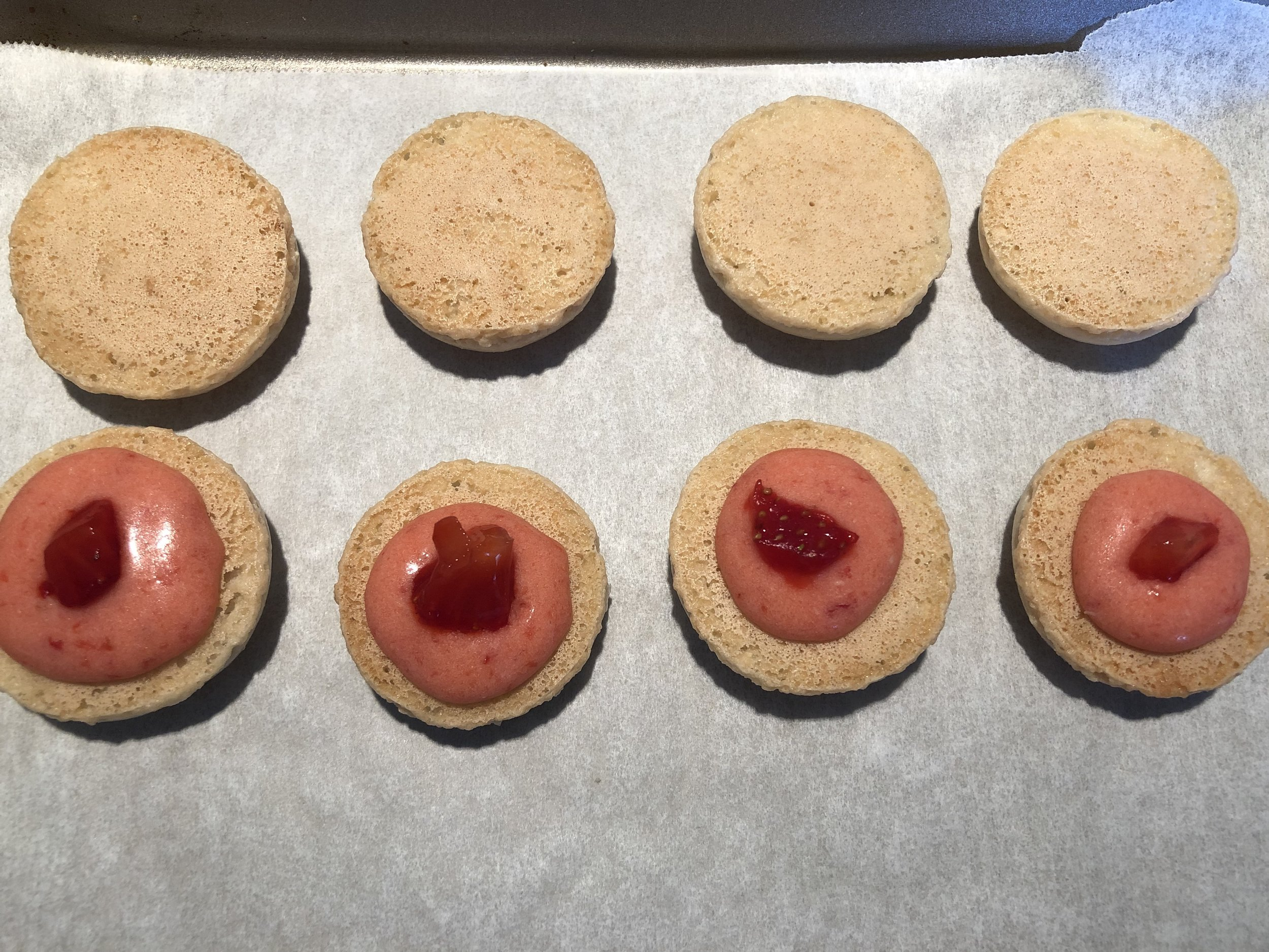 Strawberry icing with tiny strawberry pieces inside