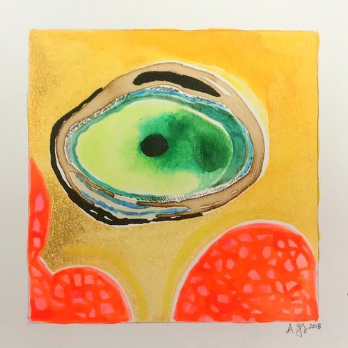 Green Geode, 7.5x7.5 inches, mixed media on paper, 2018