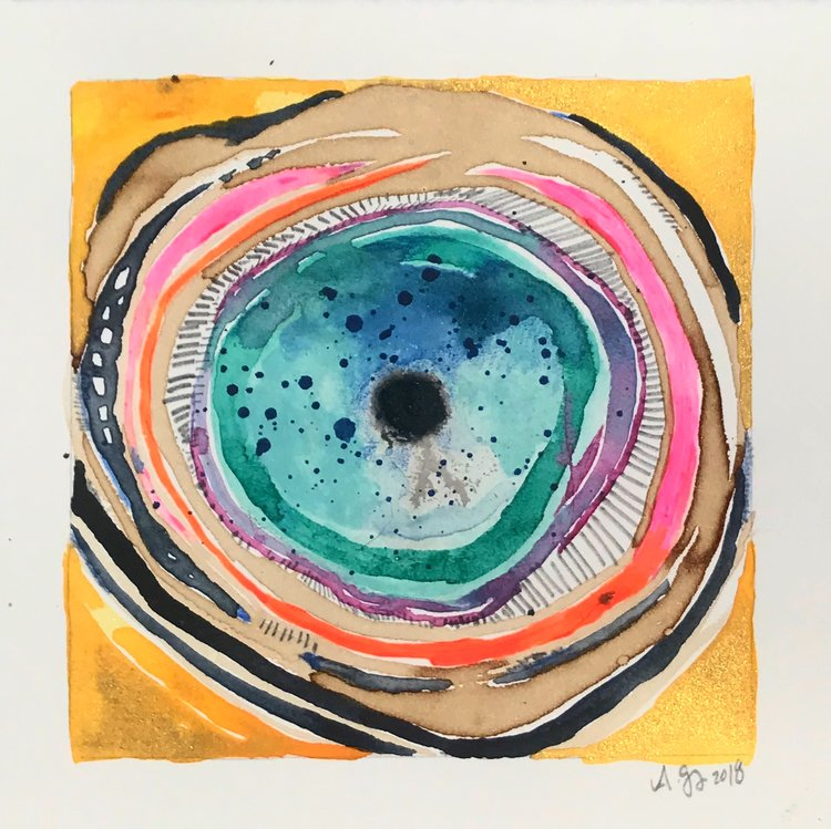 Evil Eye, 7.5x7.5 inches, mixed media on paper, 2018