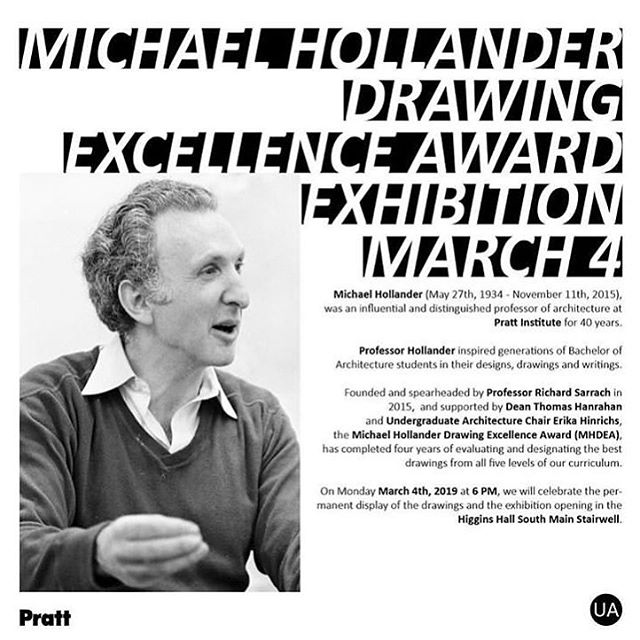 Heading to Brooklyn tonight to celebrate the opening of the Michael Hollander Drawing Excellence Exhibition at Pratt Institute. It's really hard to properly articulate what this sweet tribute to my father's legacy means to me (& my family), but it's all pretty mind blowing. Much love to @prattsoa for your generosity ❤️
