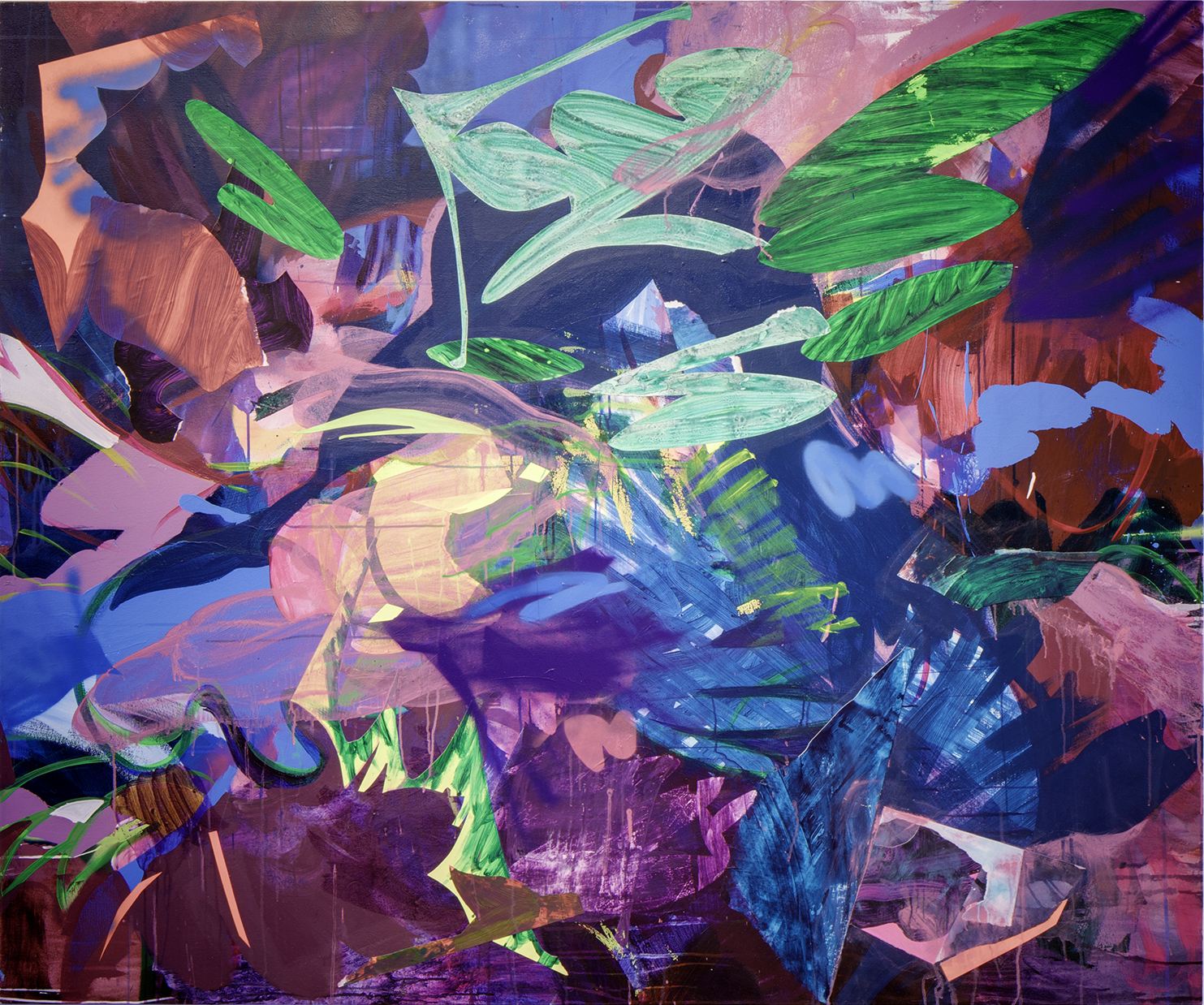 Cacophony , 60 x 72 in., Acrylic, spray paint, collage on canvas, 2016