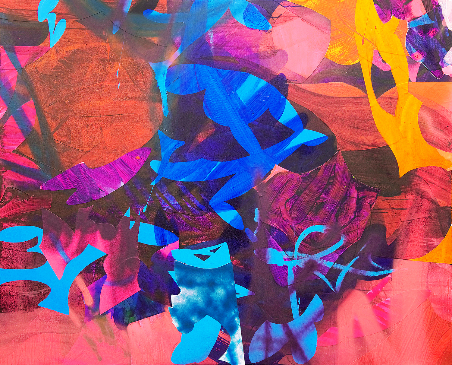 Crossover , 48 x 60 in., Acrylic, spray paint, collage on PVC, 2017