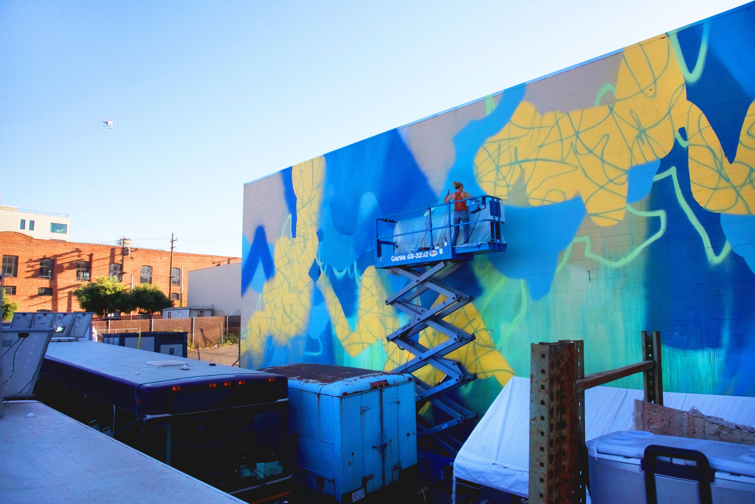 Overlook in Blue,  70 x 30 ft., Mural, 2017, Dogpatch, San Francisco, California