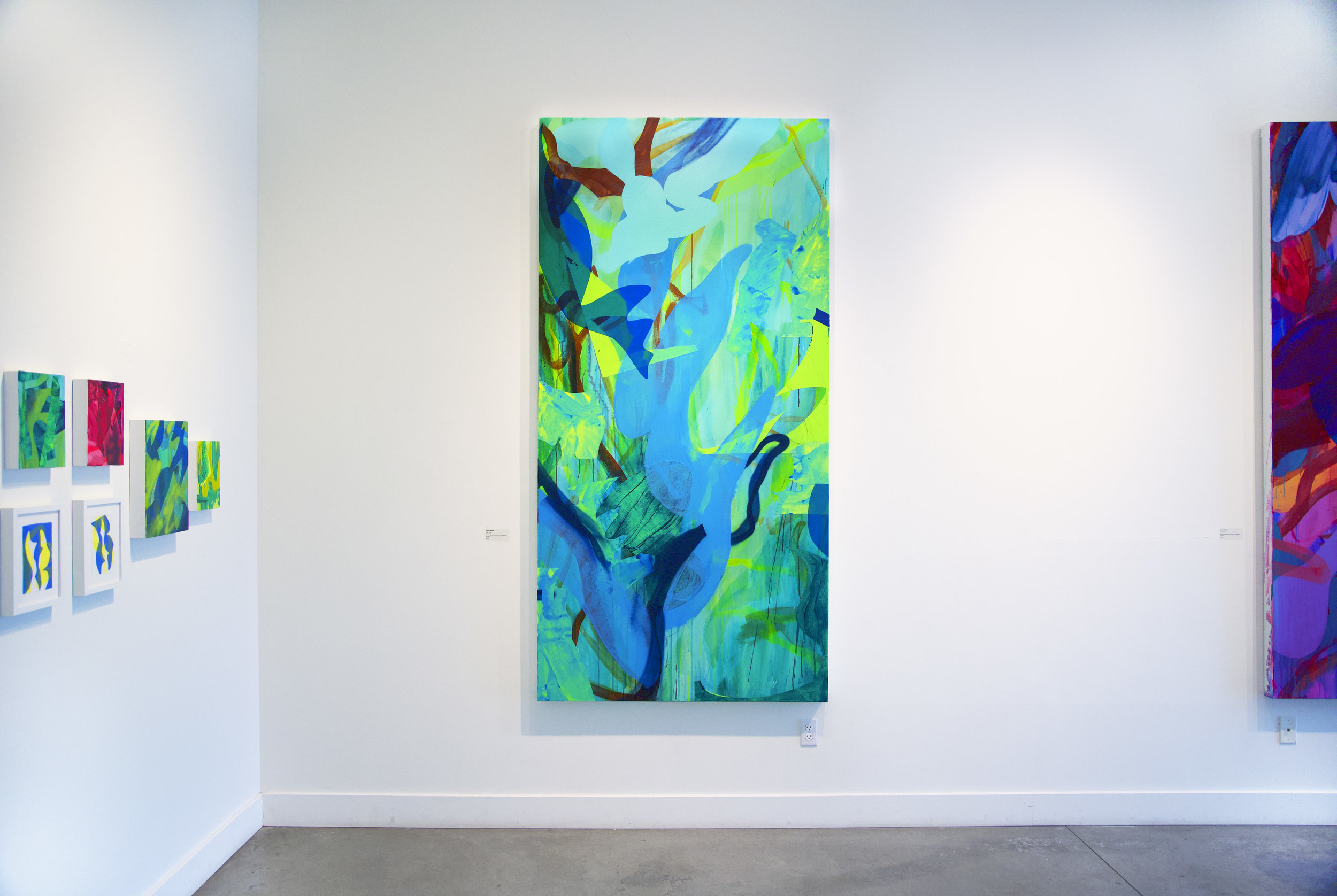 Slip  (installation view), 96 x 48 in., Acrylic, spray paint, dura-lar, collage on canvas, 2018