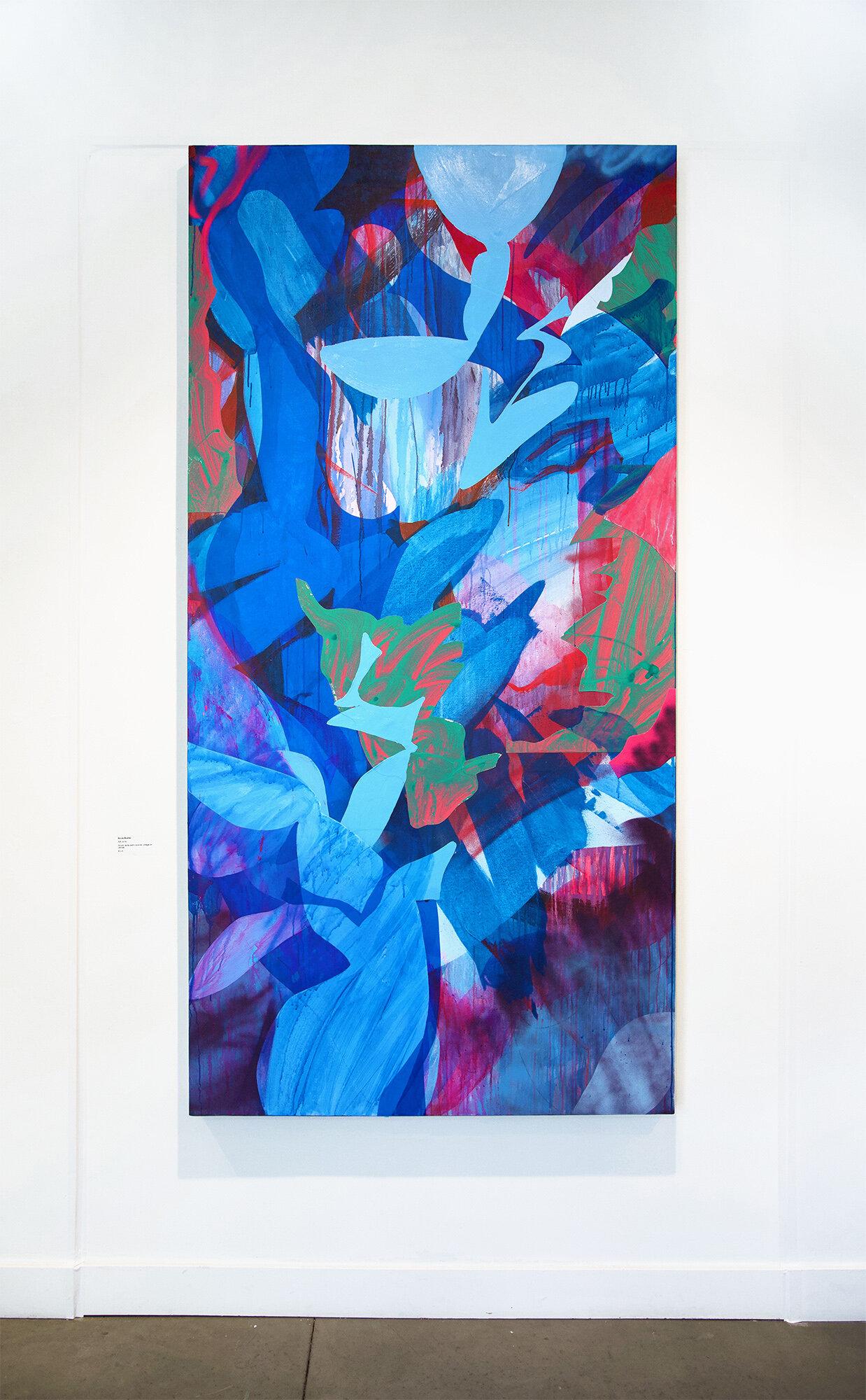 Rift , 96 x 48 in., Acrylic, spray paint, dura-lar, collage on canvas, 2018