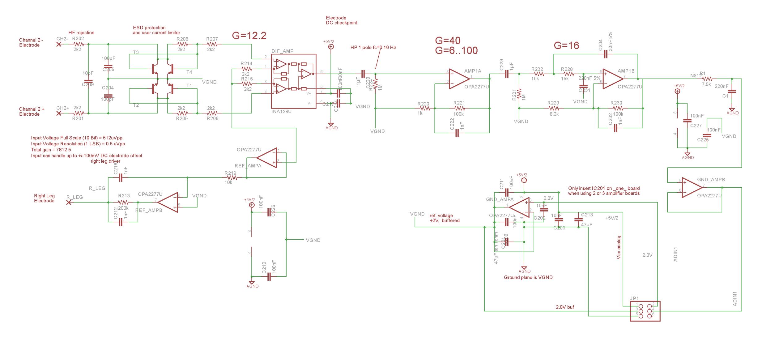 OpenEEG schematic for circuit board - lives inside belt box