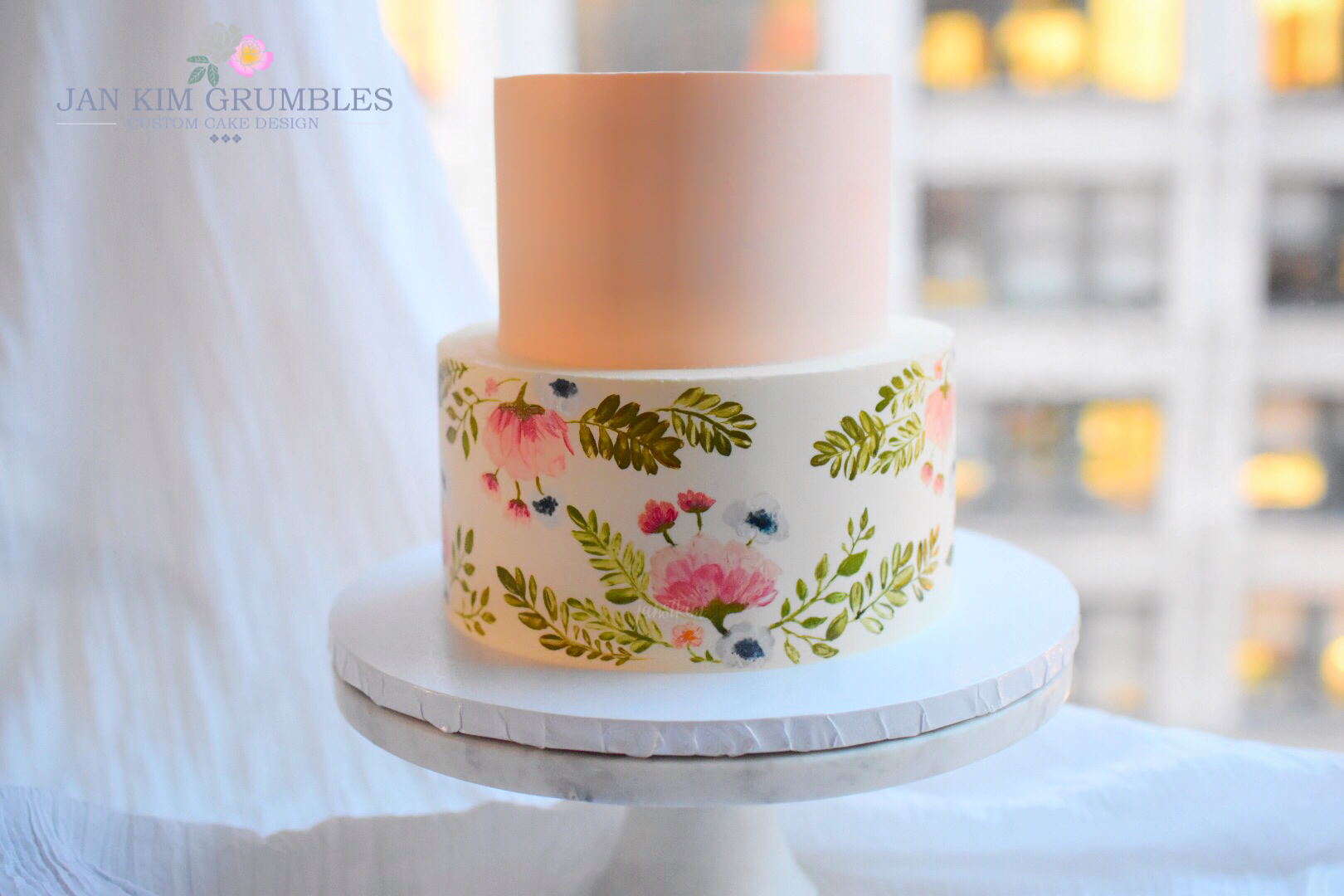 Pretty Painted florals - tiered first birthday cake