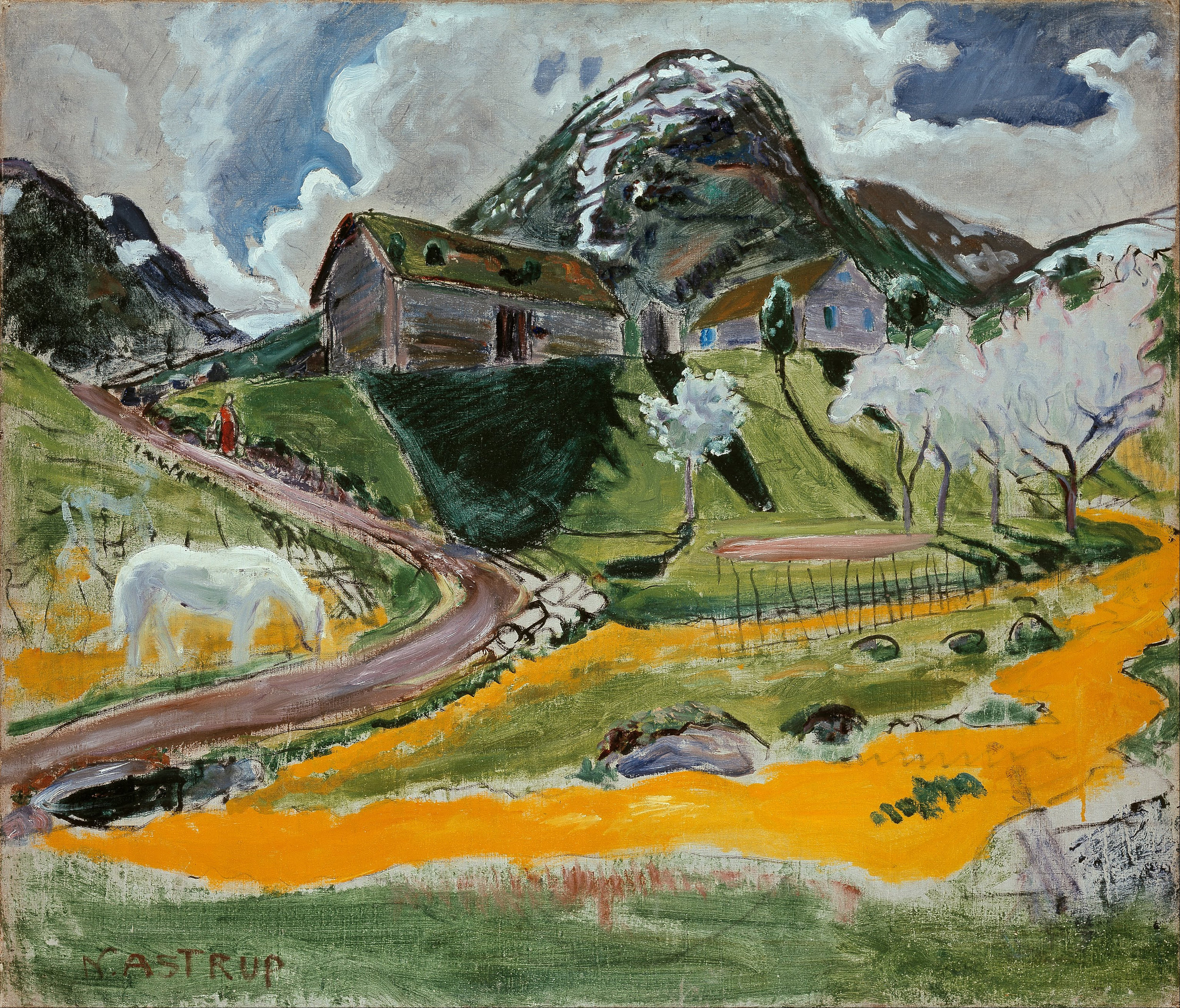The White Horse In Spring By Nikolai Astrup Famous Art Handmade Oil Painting On Canvas Canvas Paintings