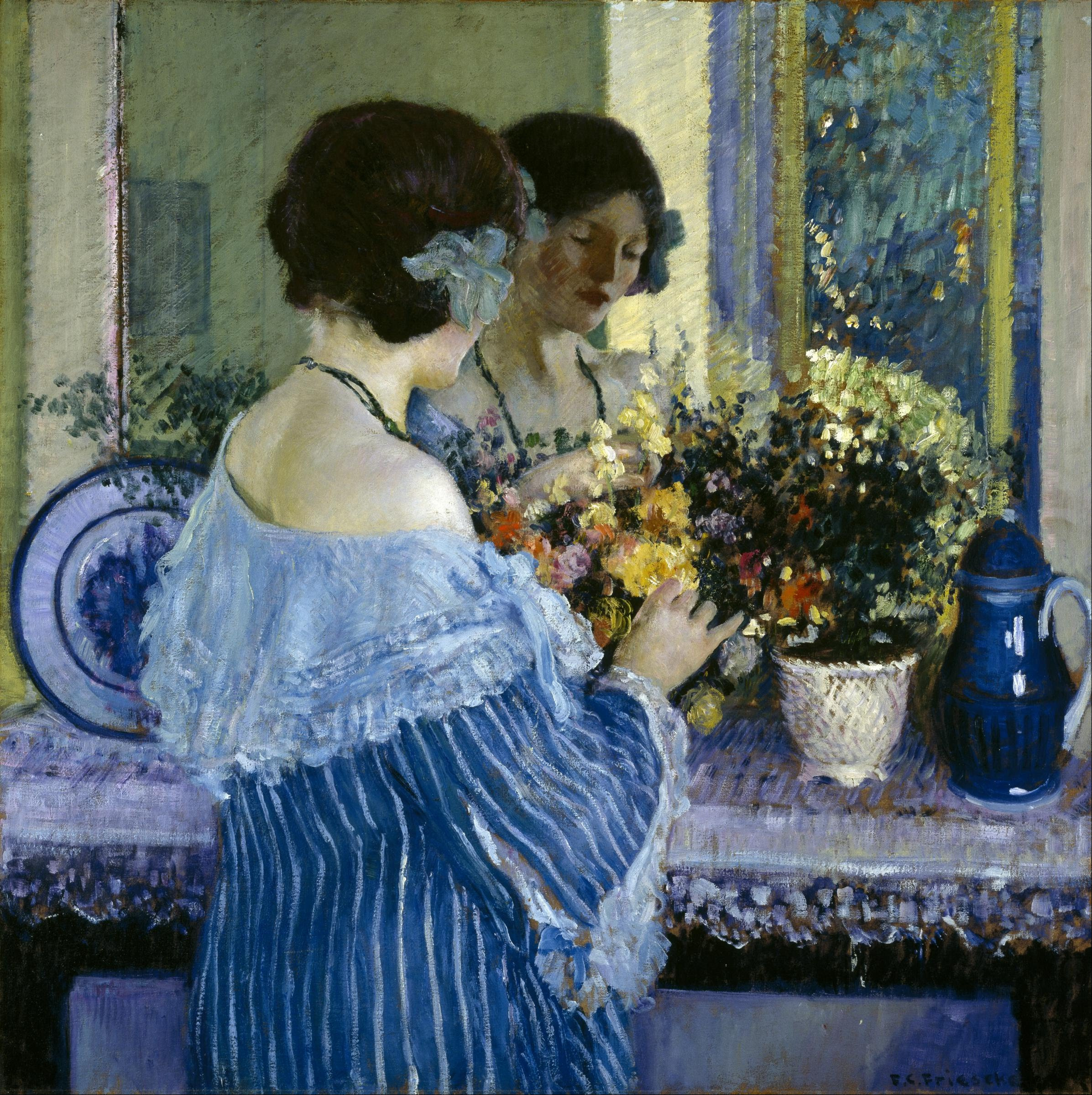 Girl in Blue Arranging Flowers By Frederick Carl Frieseke - Famous Art