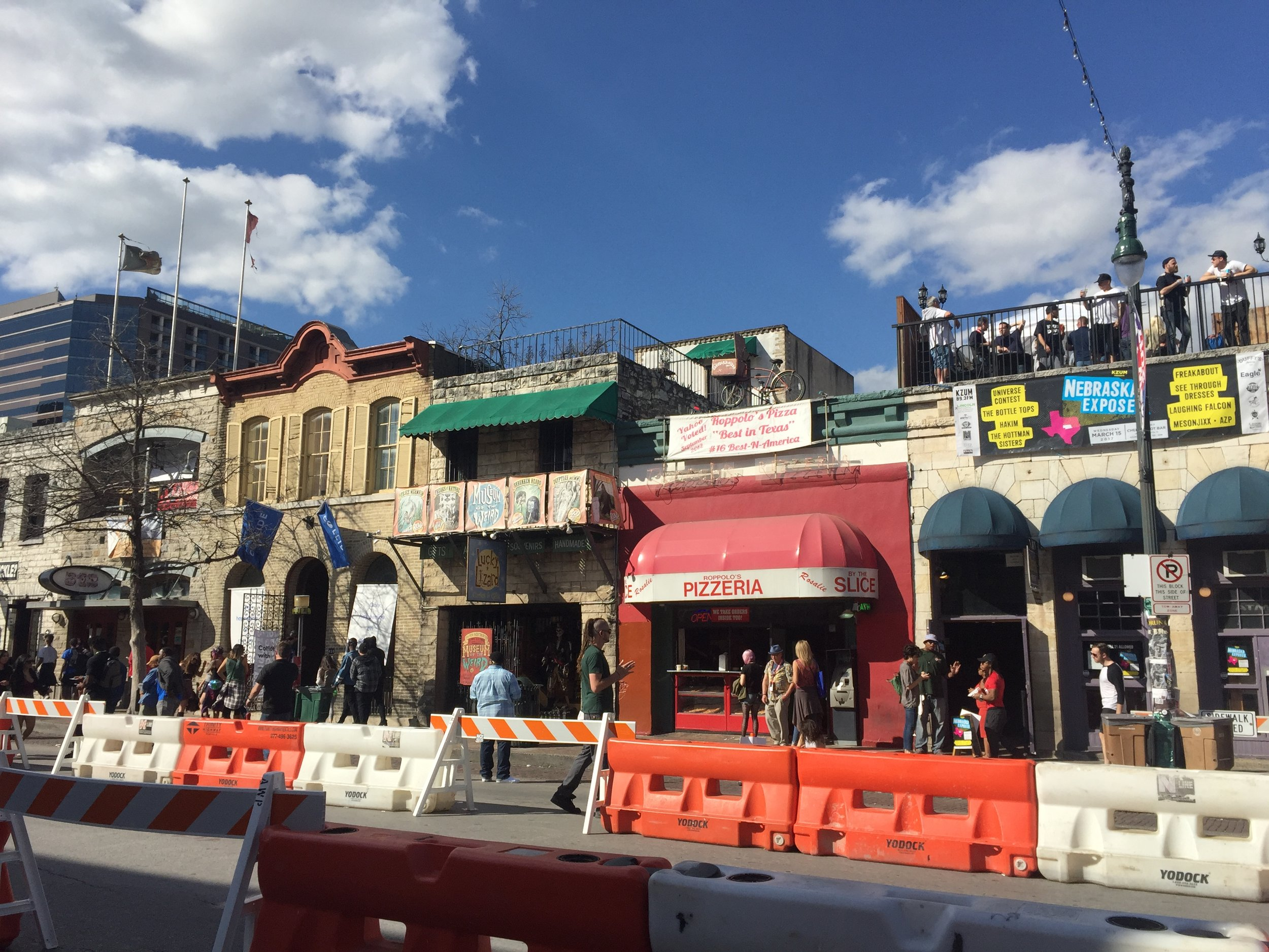 6th street with live music and roof top parties.