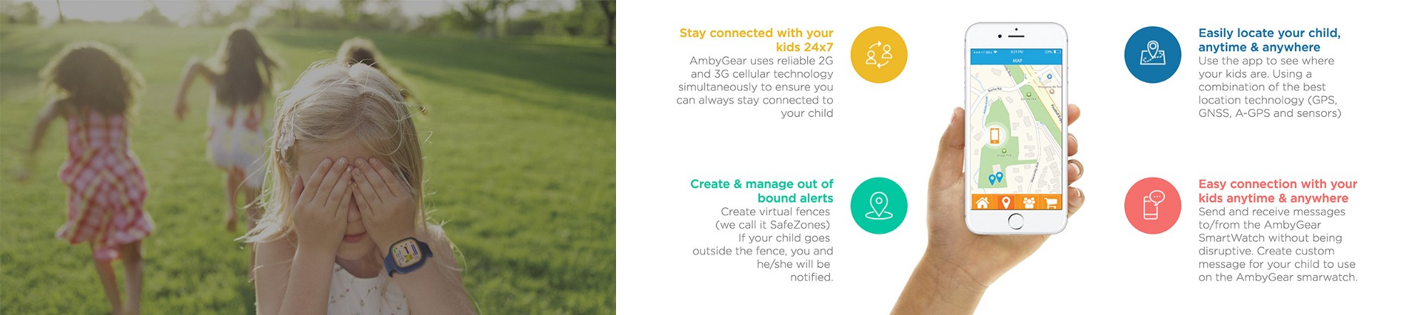 AmbyGear Smartwatch and app features.
