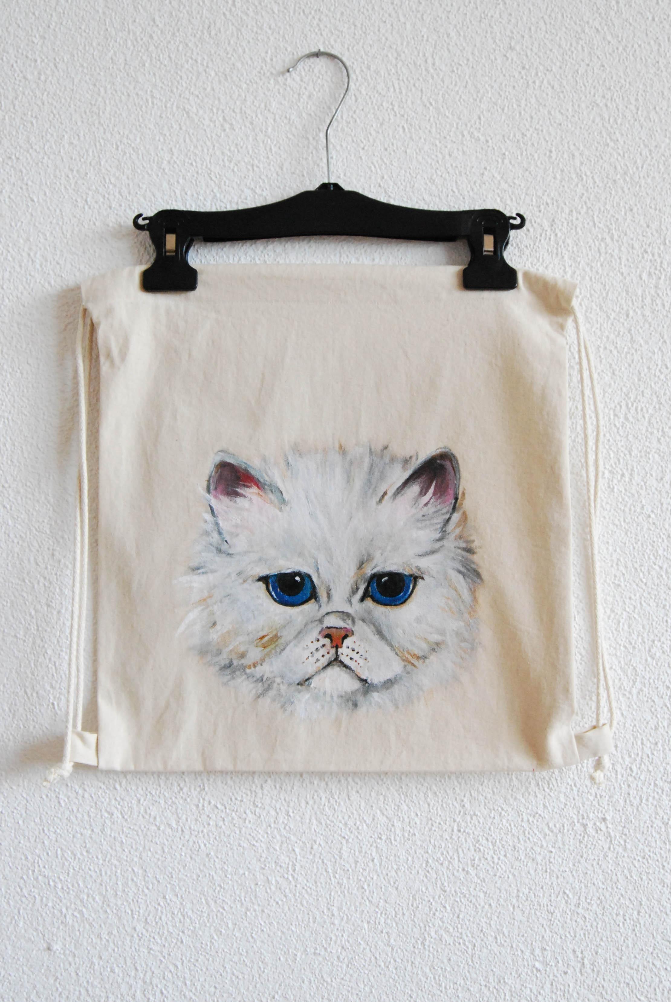 weisse Katze Turnbeutel