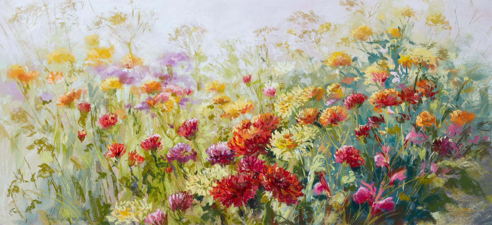 From the Garden to the Vase Original Pastel from Burton Agnes Hall