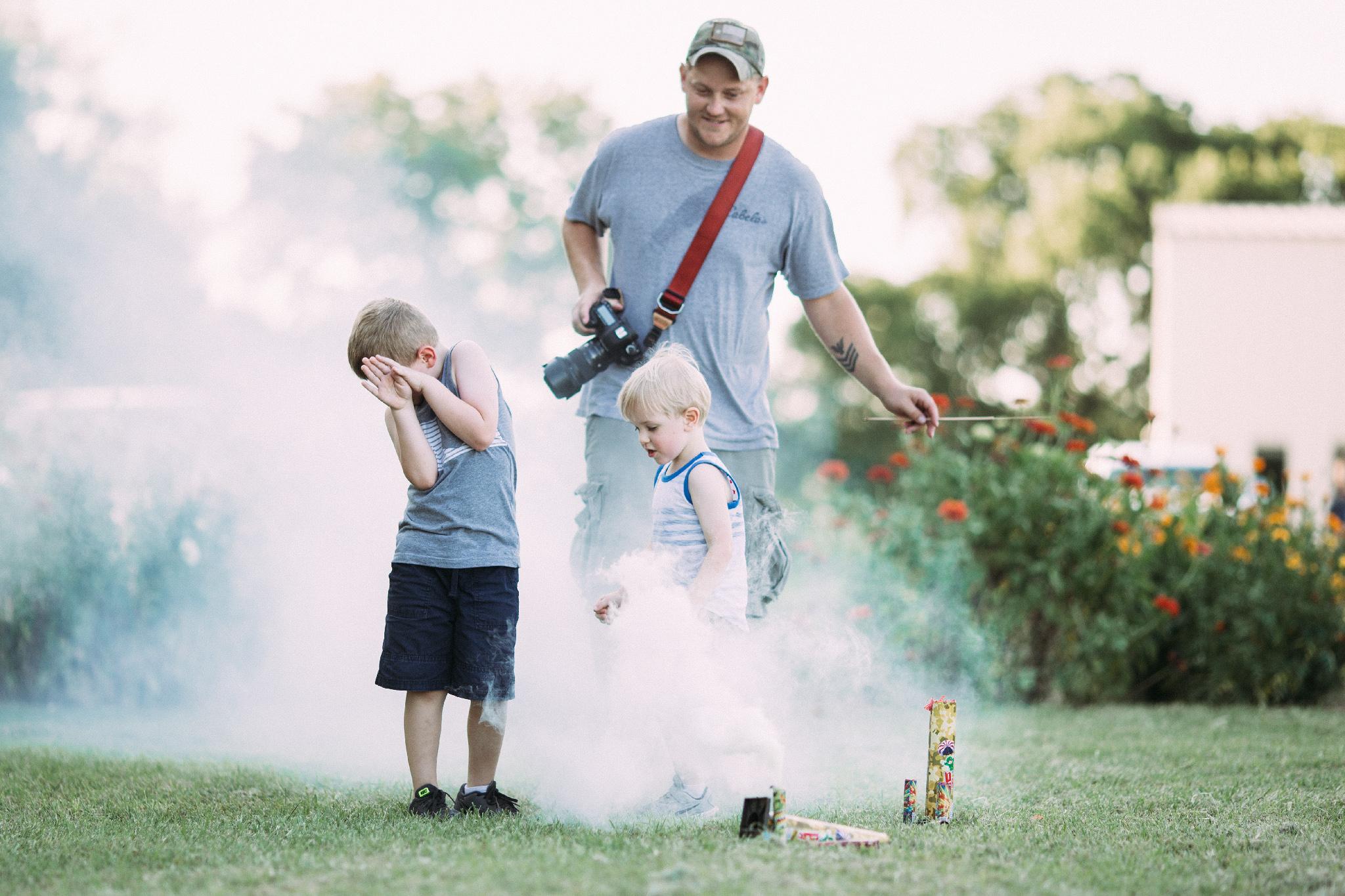 The boys loved running through the smoke.