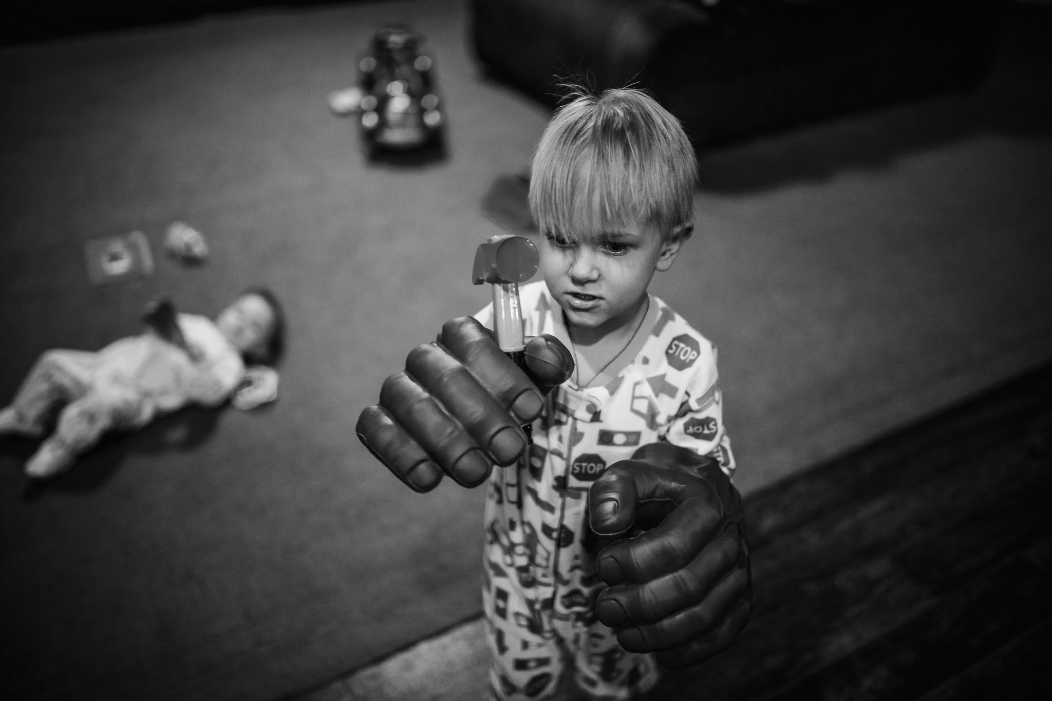 Hammering with Hulk hands.