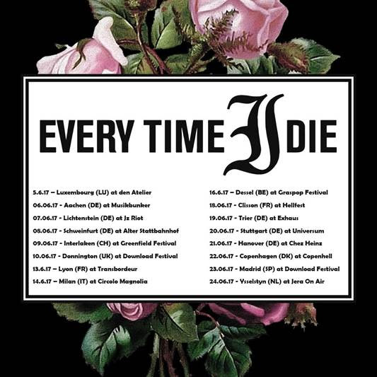 Every Time I Die are embarking on an eight date tour across Europe this Summer.
