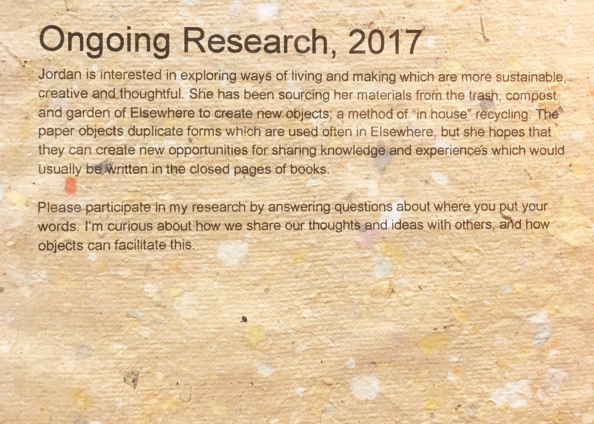 Ongoing Research   2017  (see above for description)
