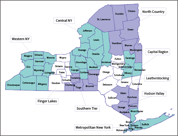 New York State map with counties and regions