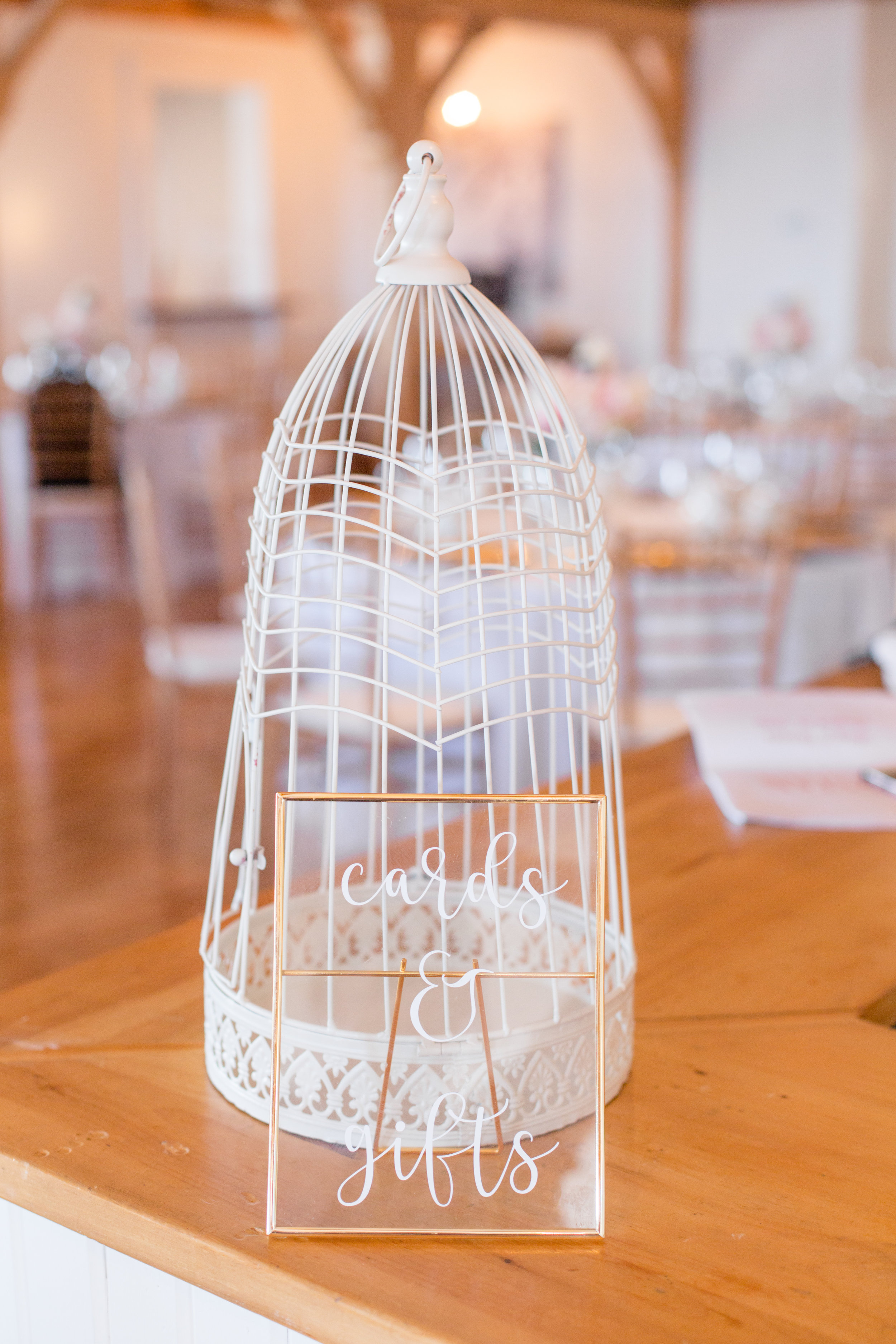 Bird cage card holder  Assorted size gold glass signage available pre-made and for personalization  Photo by  Nicole Anne Photography
