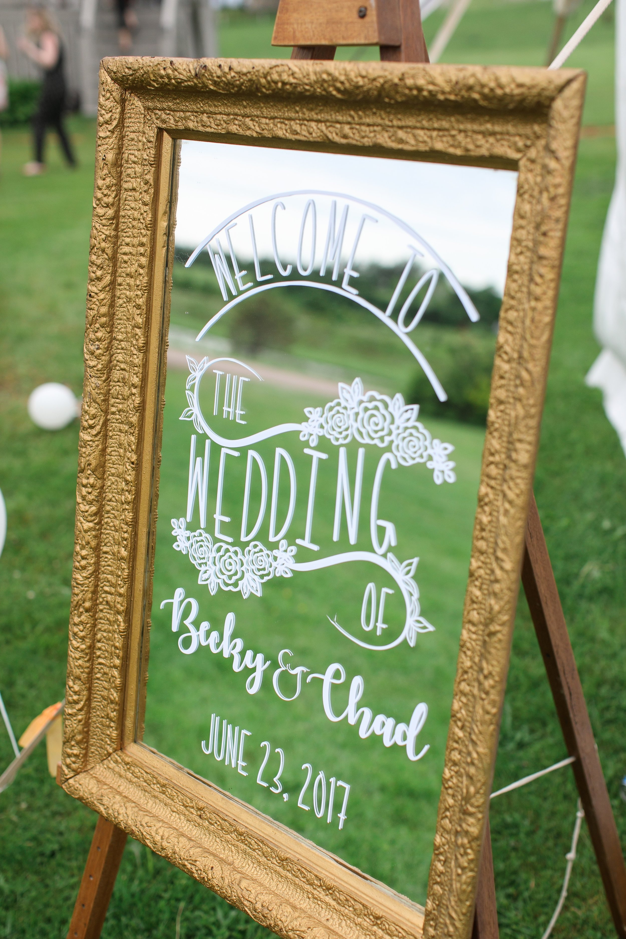 Customizable ceremony and reception mirrors  Photo by  Brady McCloskey Photography